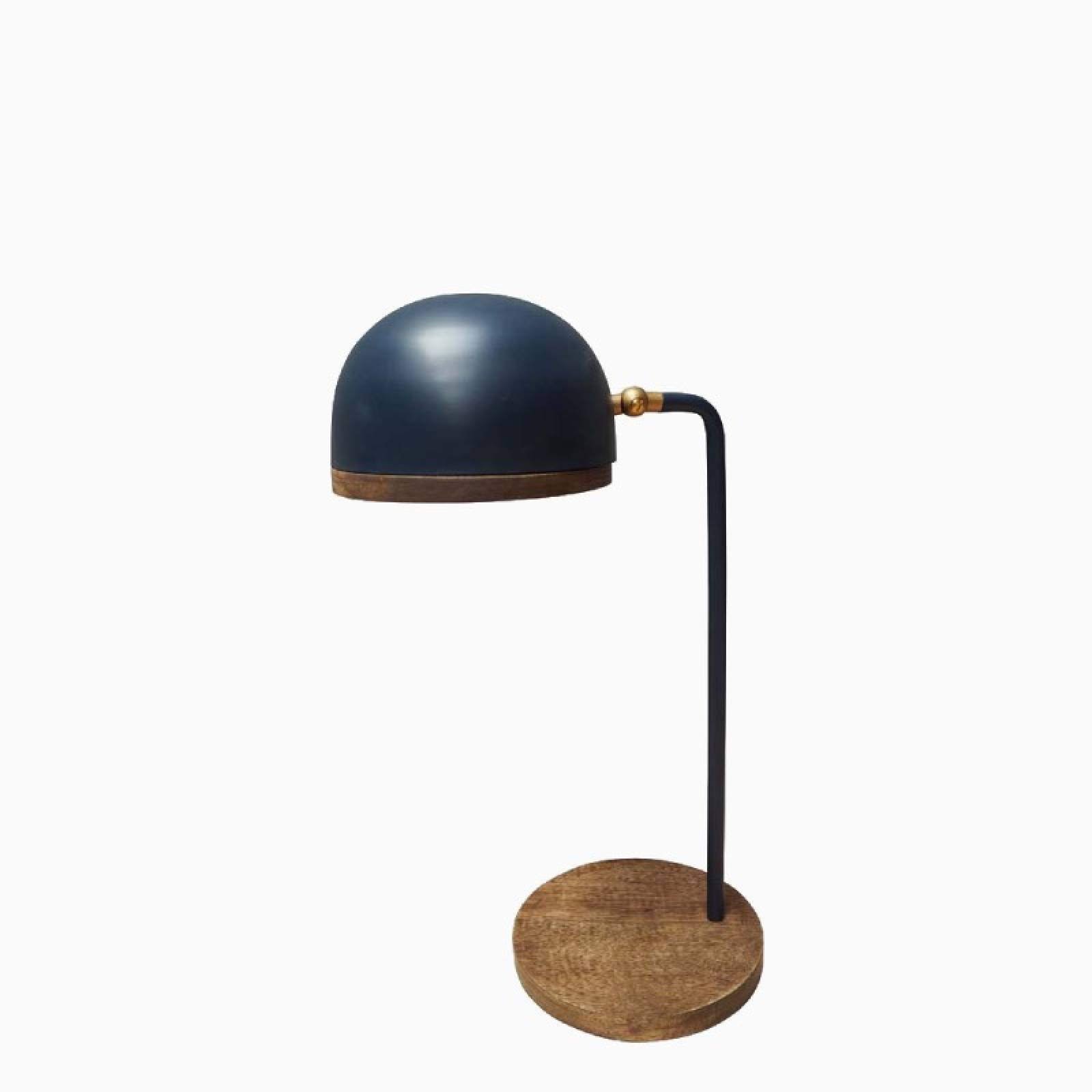 Blue Metal Table Lamp With Wooden Base H:48cm