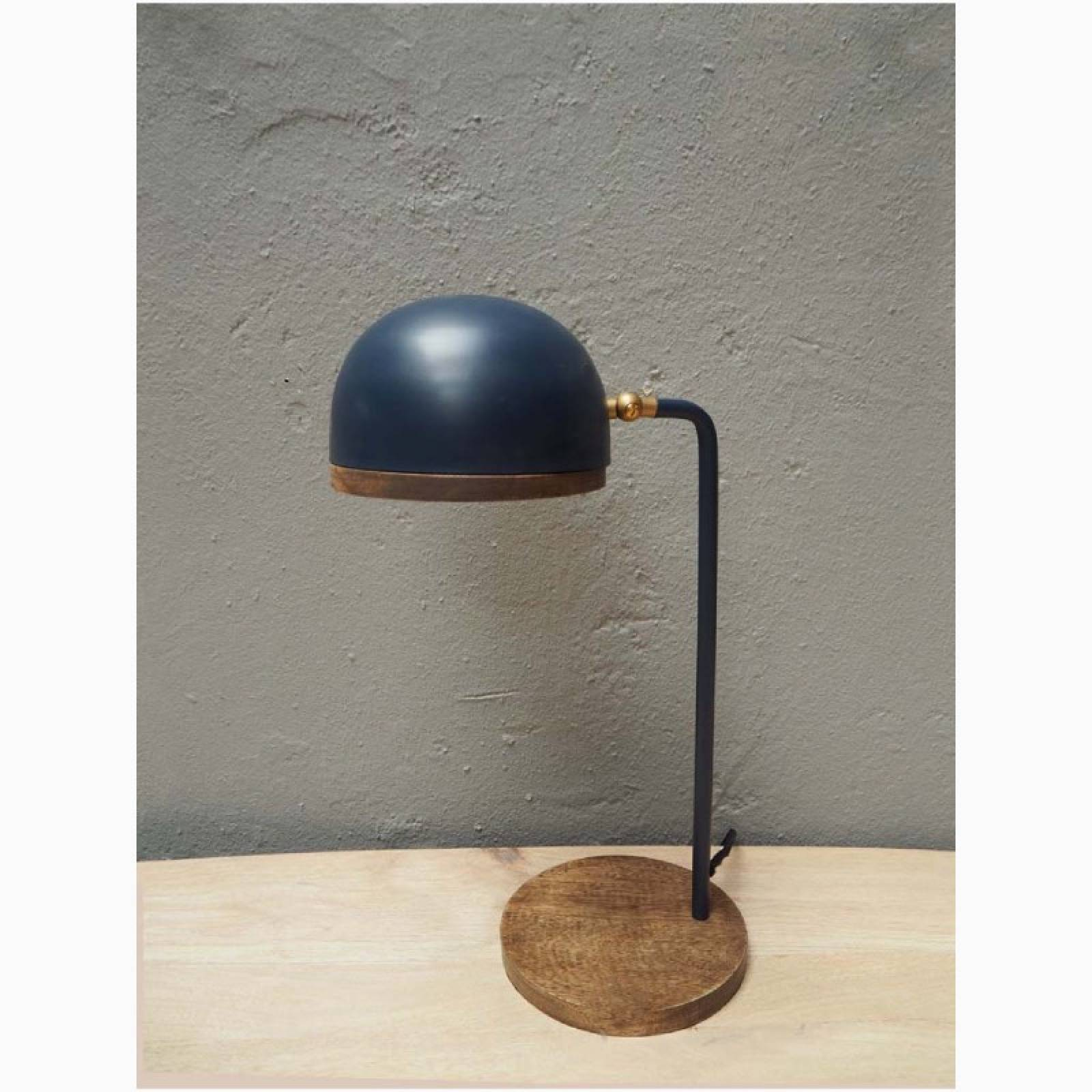 Blue Metal Table Lamp With Wooden Base H:48cm thumbnails