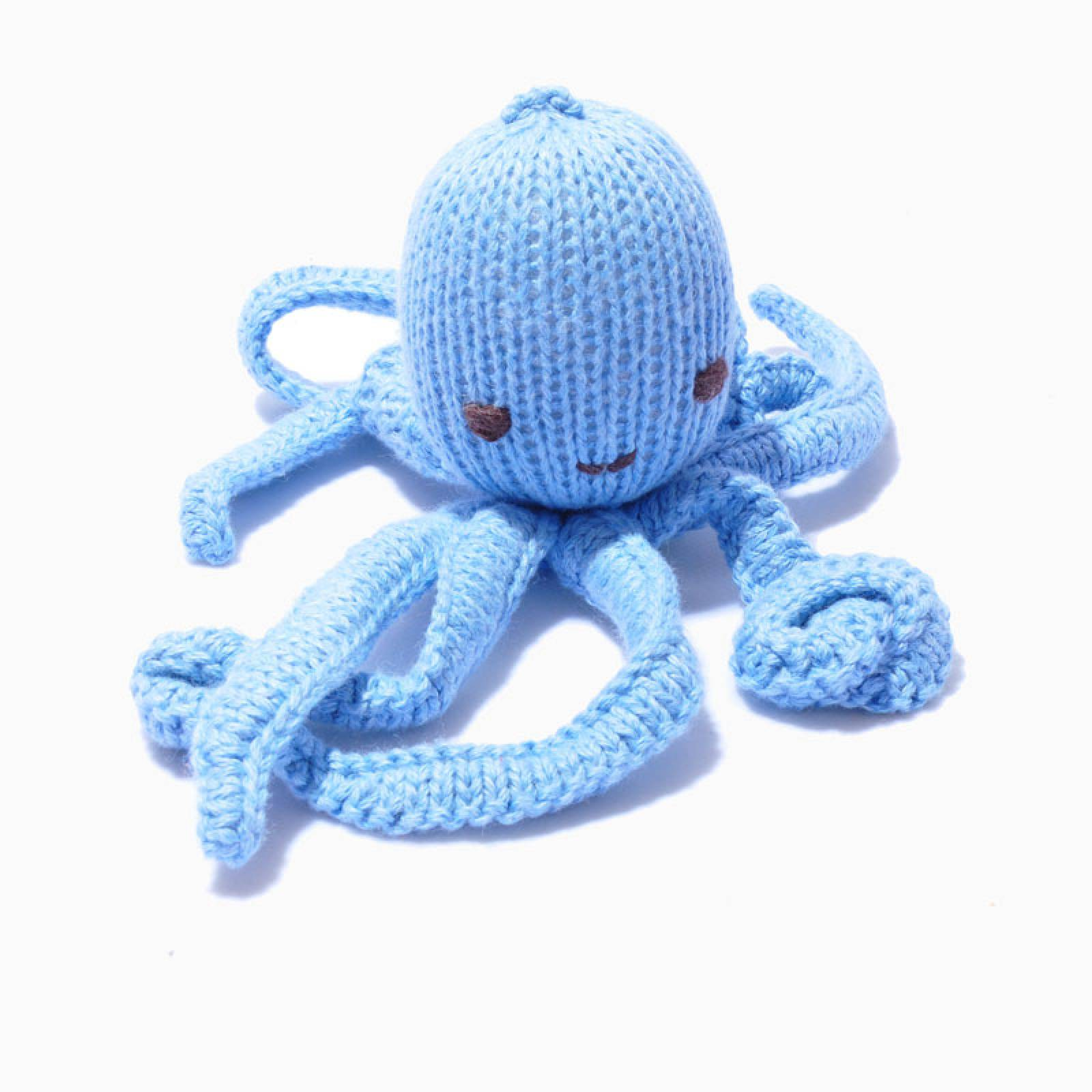 Blue Octopus Hand Knitted Soft Toy Organic Cotton