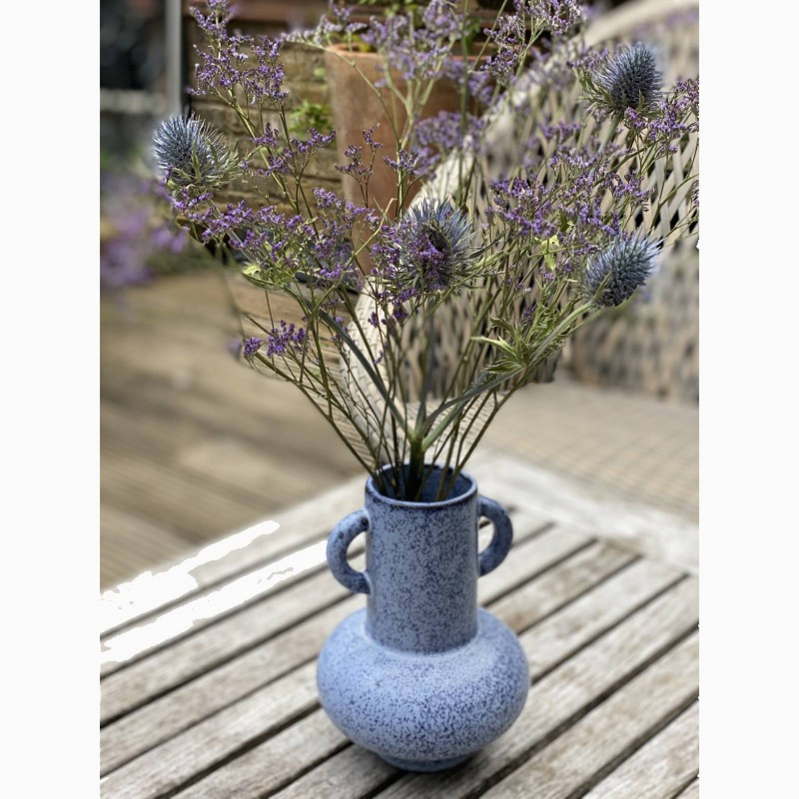 Blue Speckled Vase With Small Handles  H:18cm thumbnails