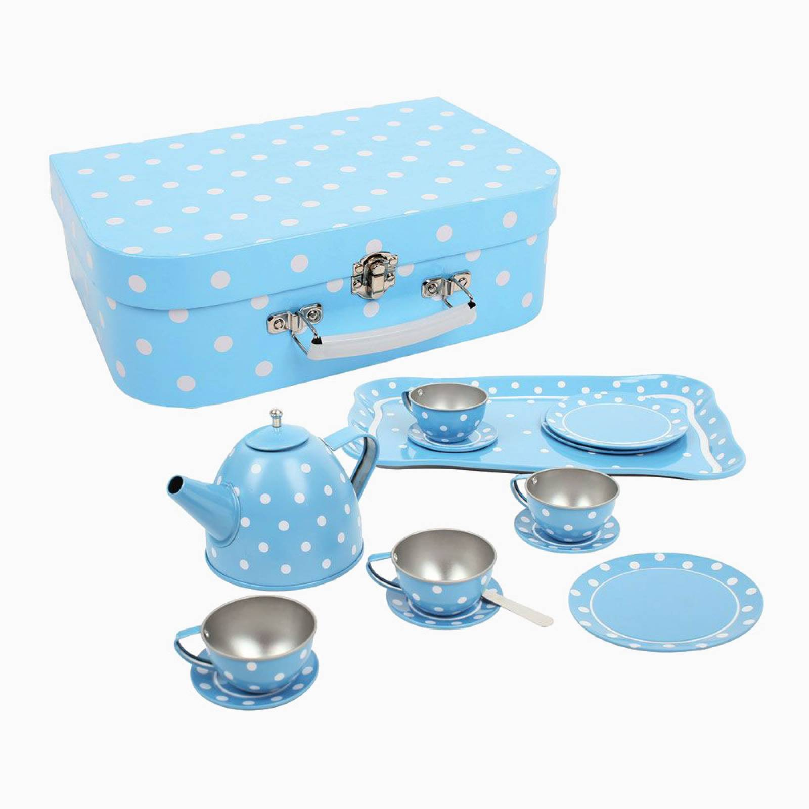 Blue And White Spot Tin Tea Set In Case