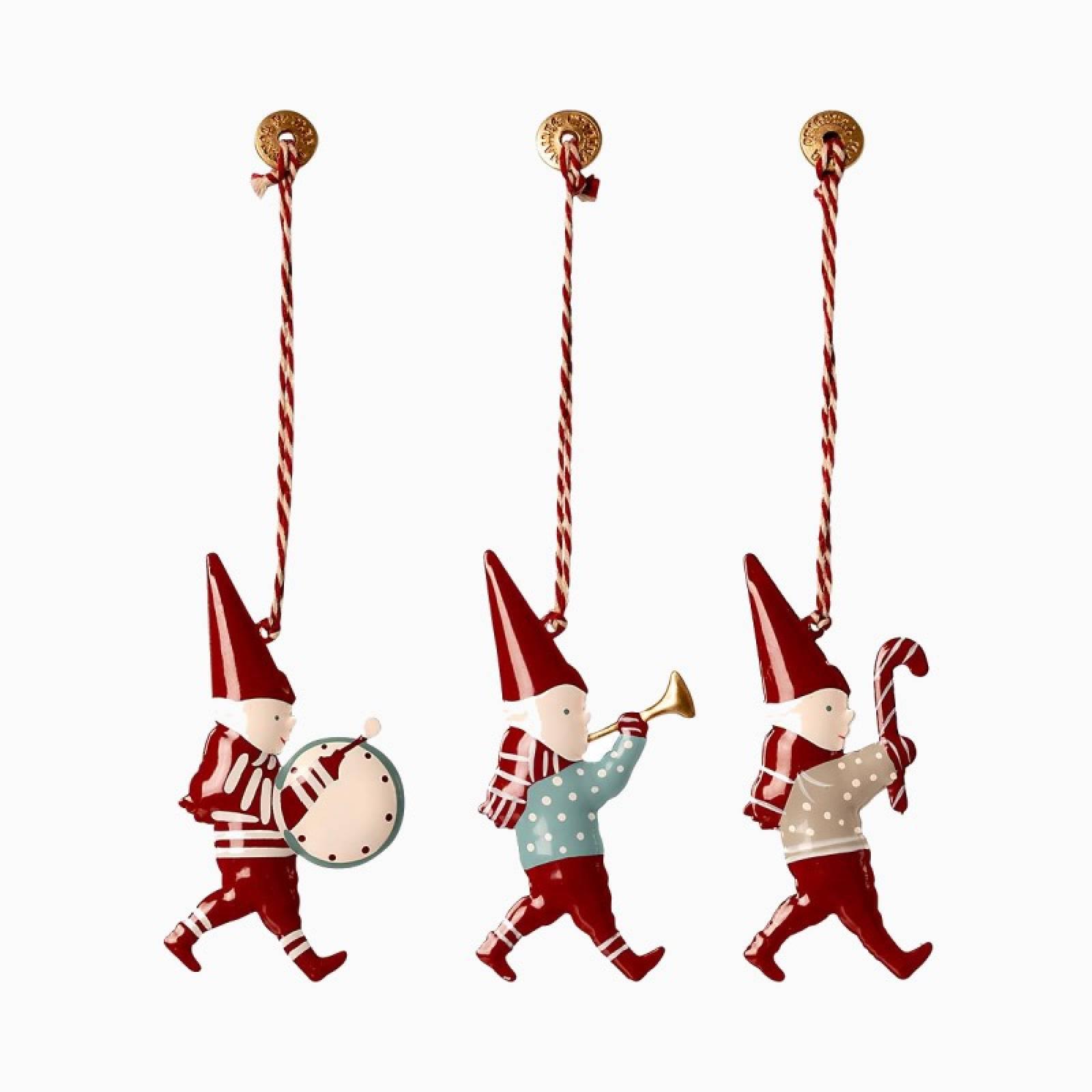 Box Of 3 Pixies Metal Christmas Decorations