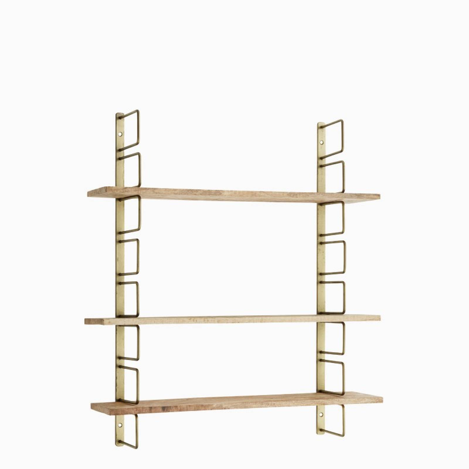 Brass Shelving Unit With 3 Adjustable Wooden Shelves