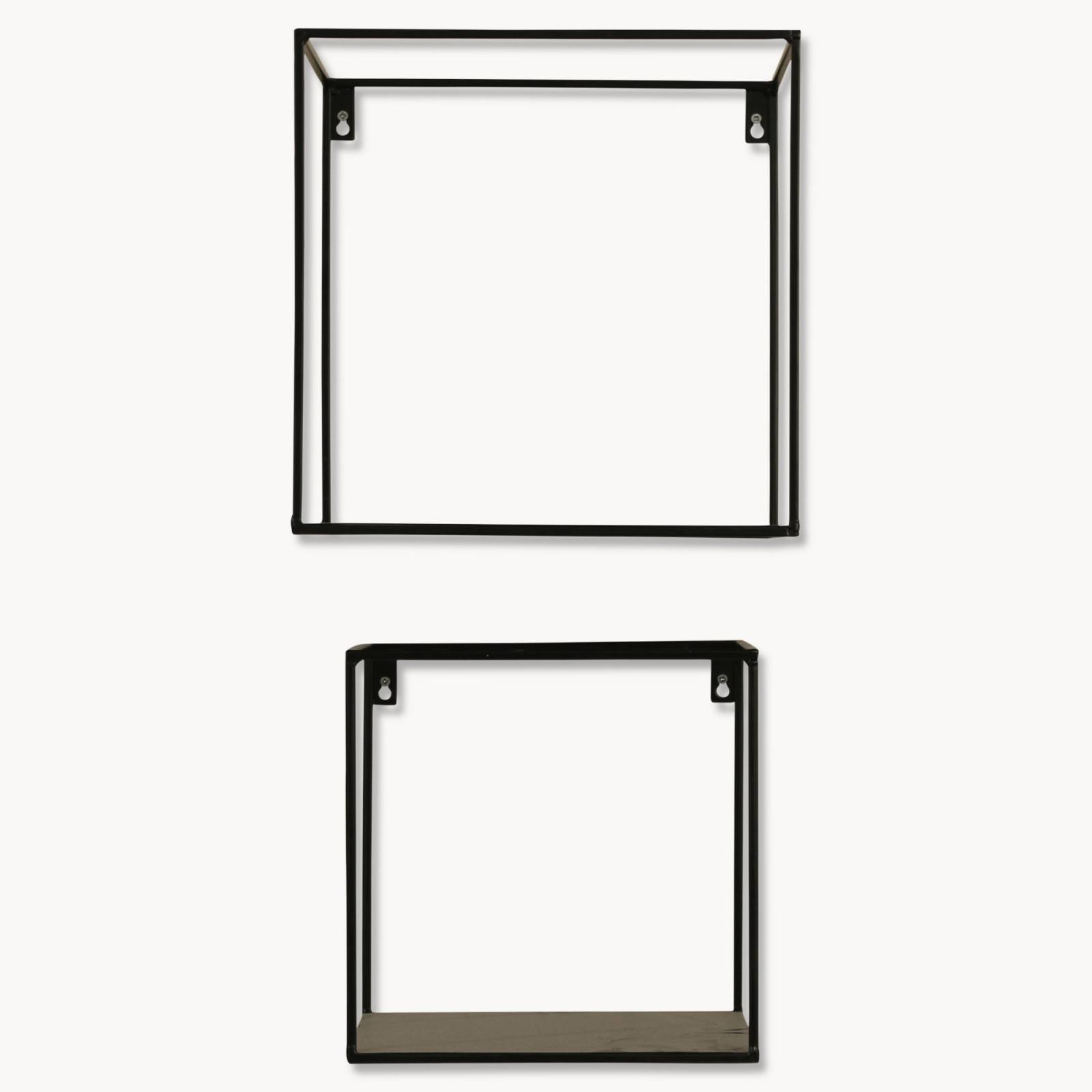 Brenton Square Black Metal Shelf Set of 2 thumbnails