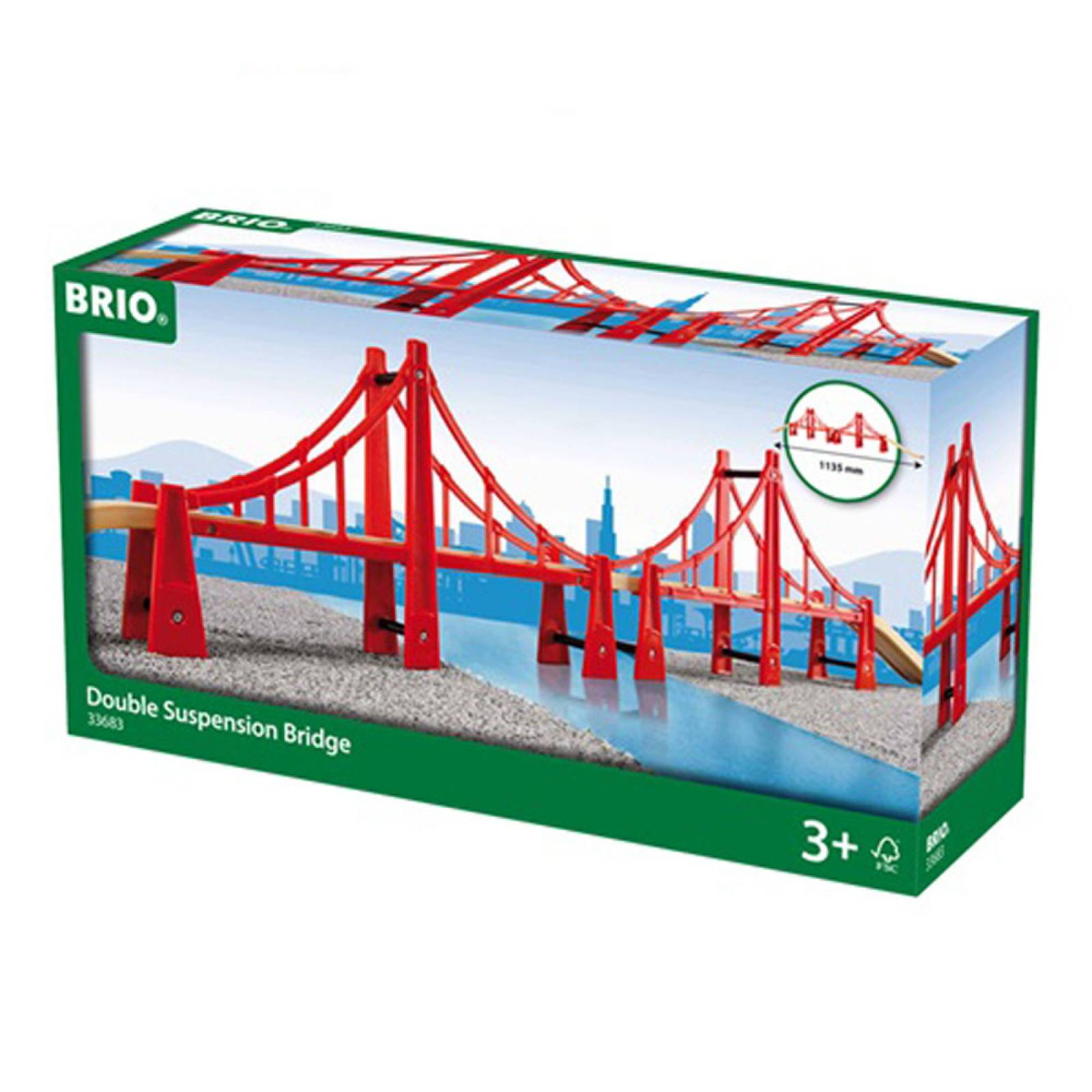 Double Suspension Bridge BRIO Wooden Railway 3+
