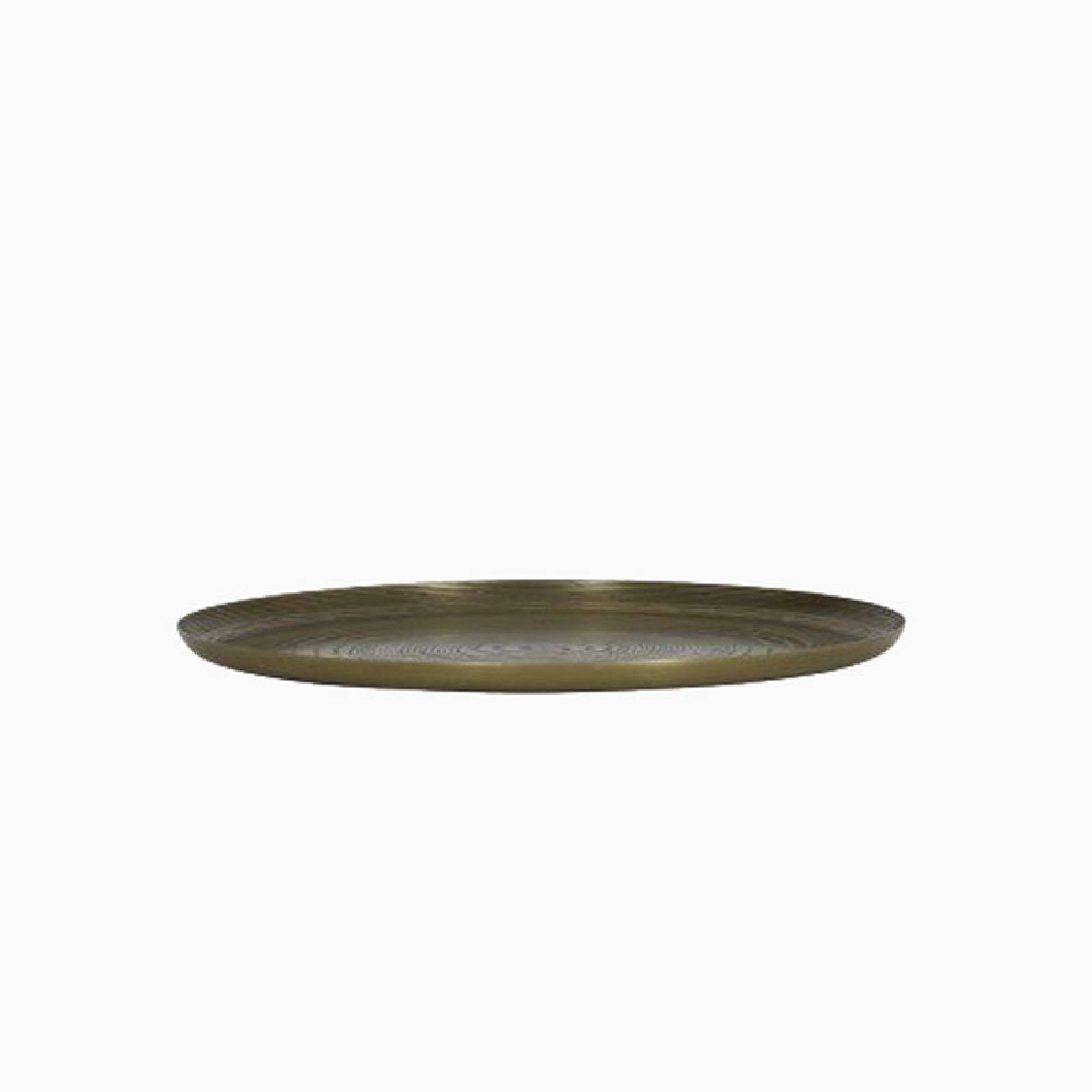 Bronzed Trunk Pattern Circular Metal Tray
