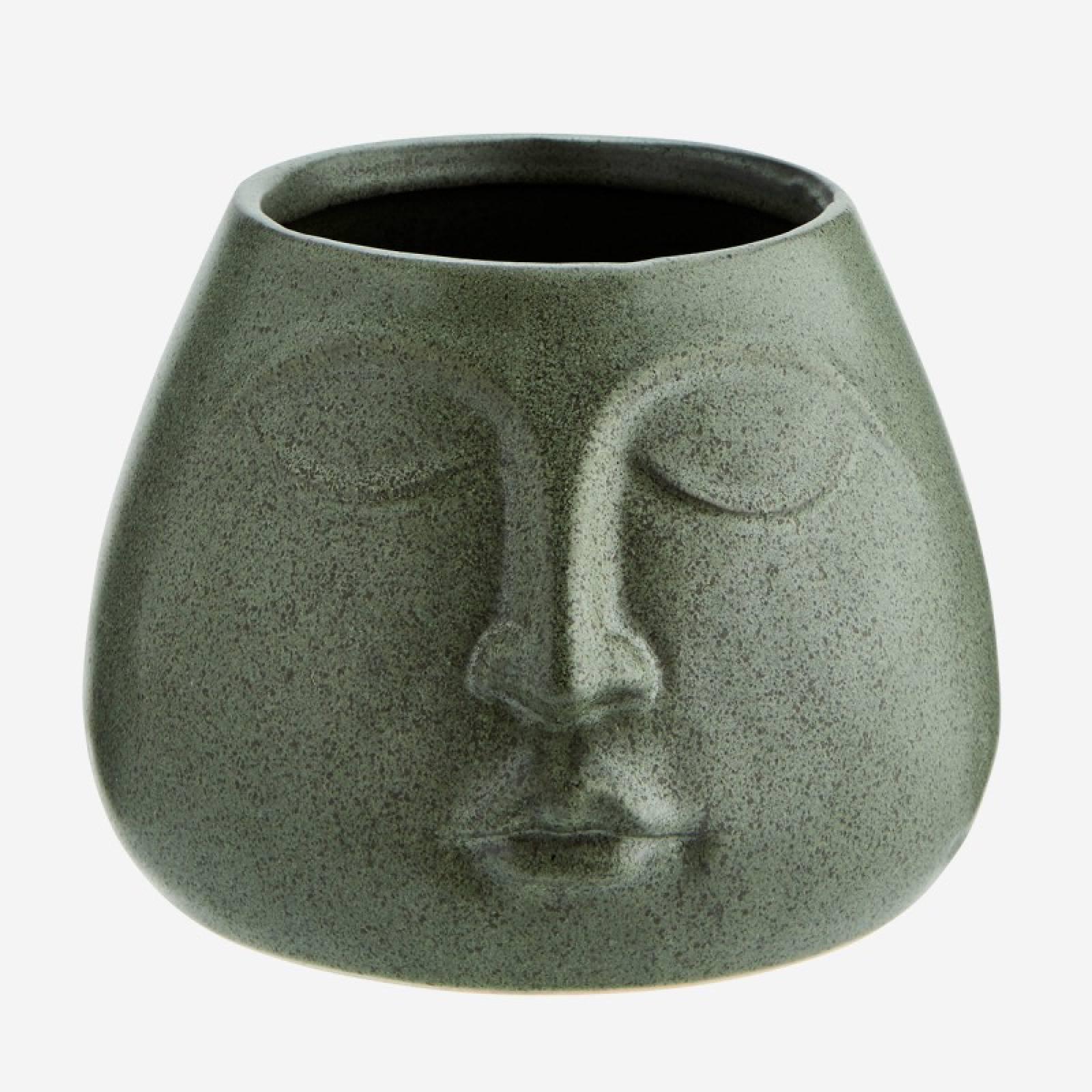Bulbous Face Imprint Vase In Green