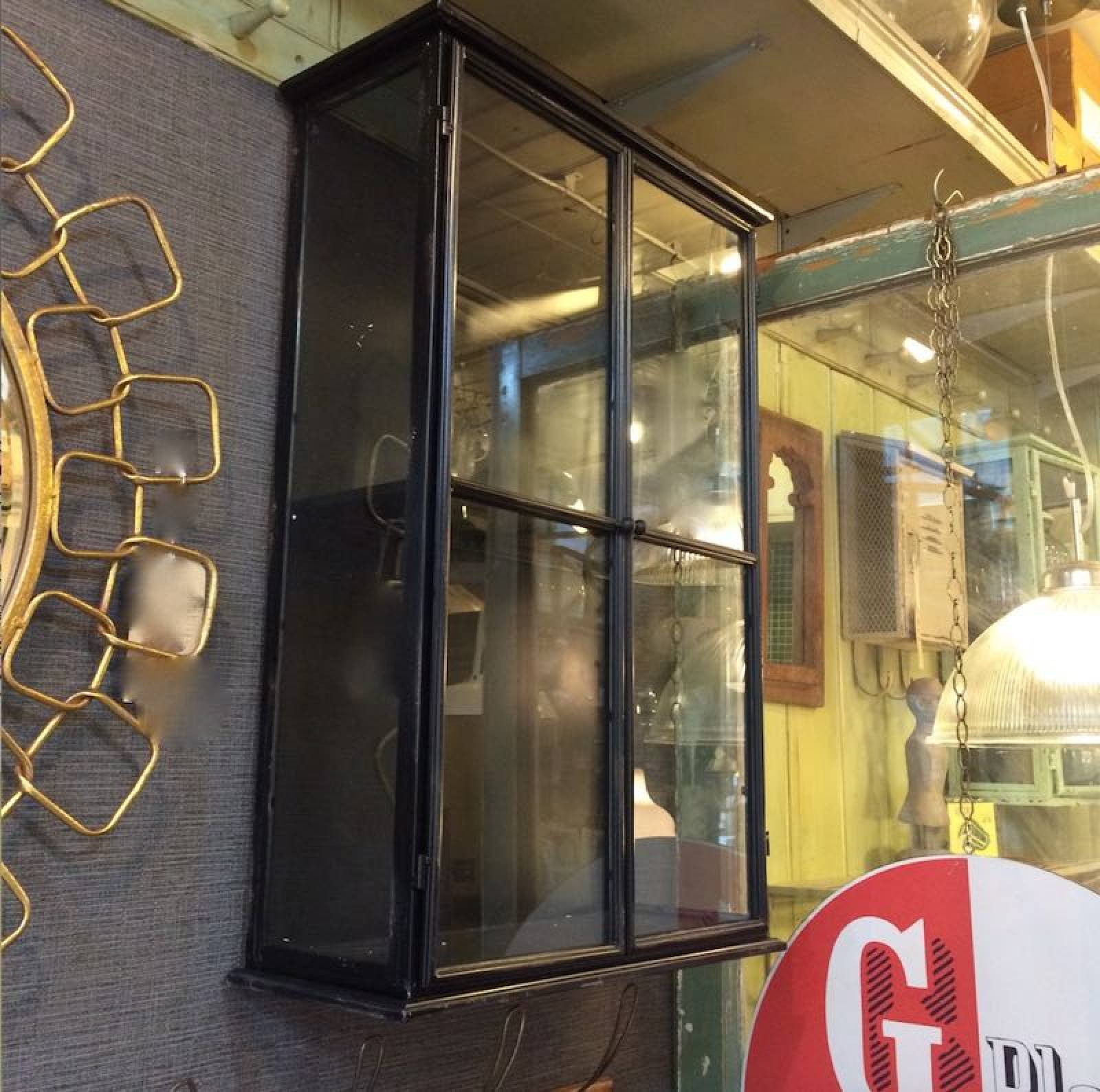 Large Black Glazed Metal Wall Cabinet With Glass 54x23x81cm thumbnails