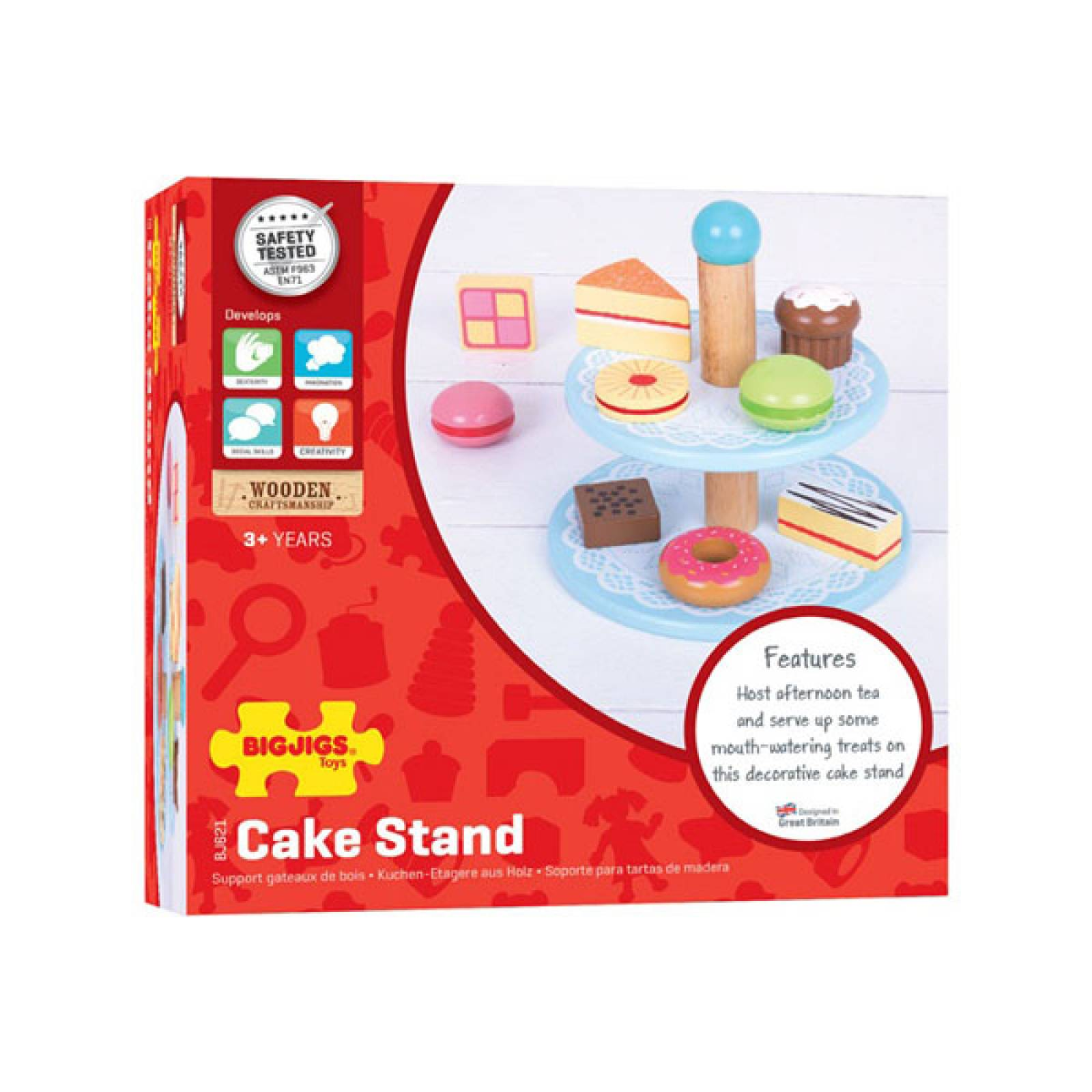Cake Stand - Set of 10 Wooden Cakes Toy Food 3yr+ thumbnails