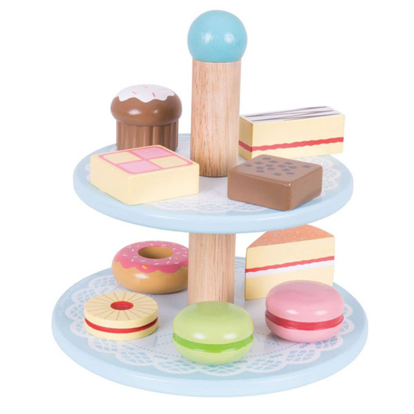 Cake Stand - Set of 10 Wooden Cakes Toy Food 3yr+