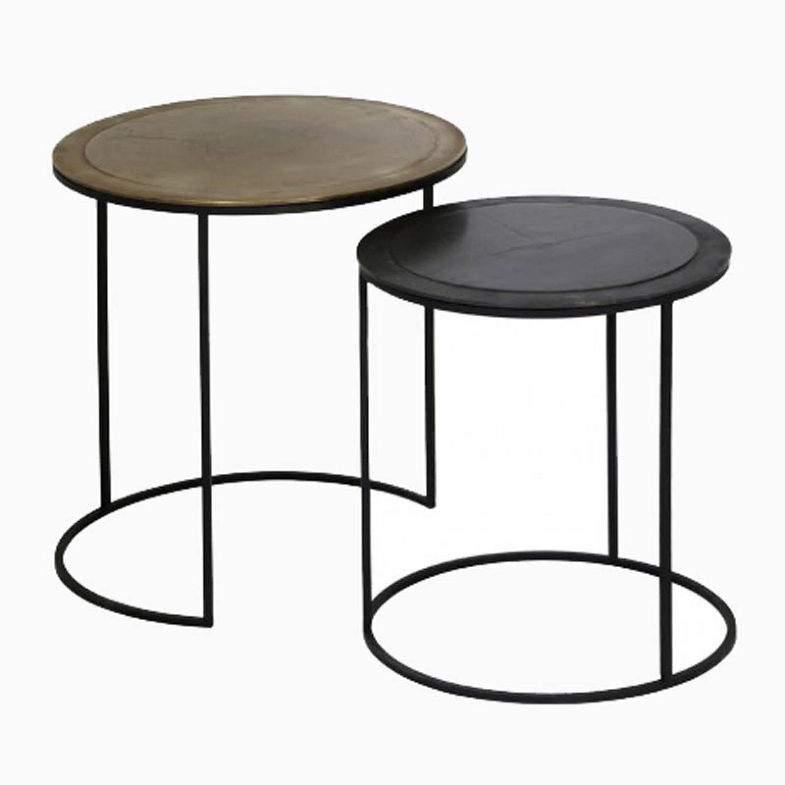 Calta Pair Of Circular Metal Side Tables thumbnails