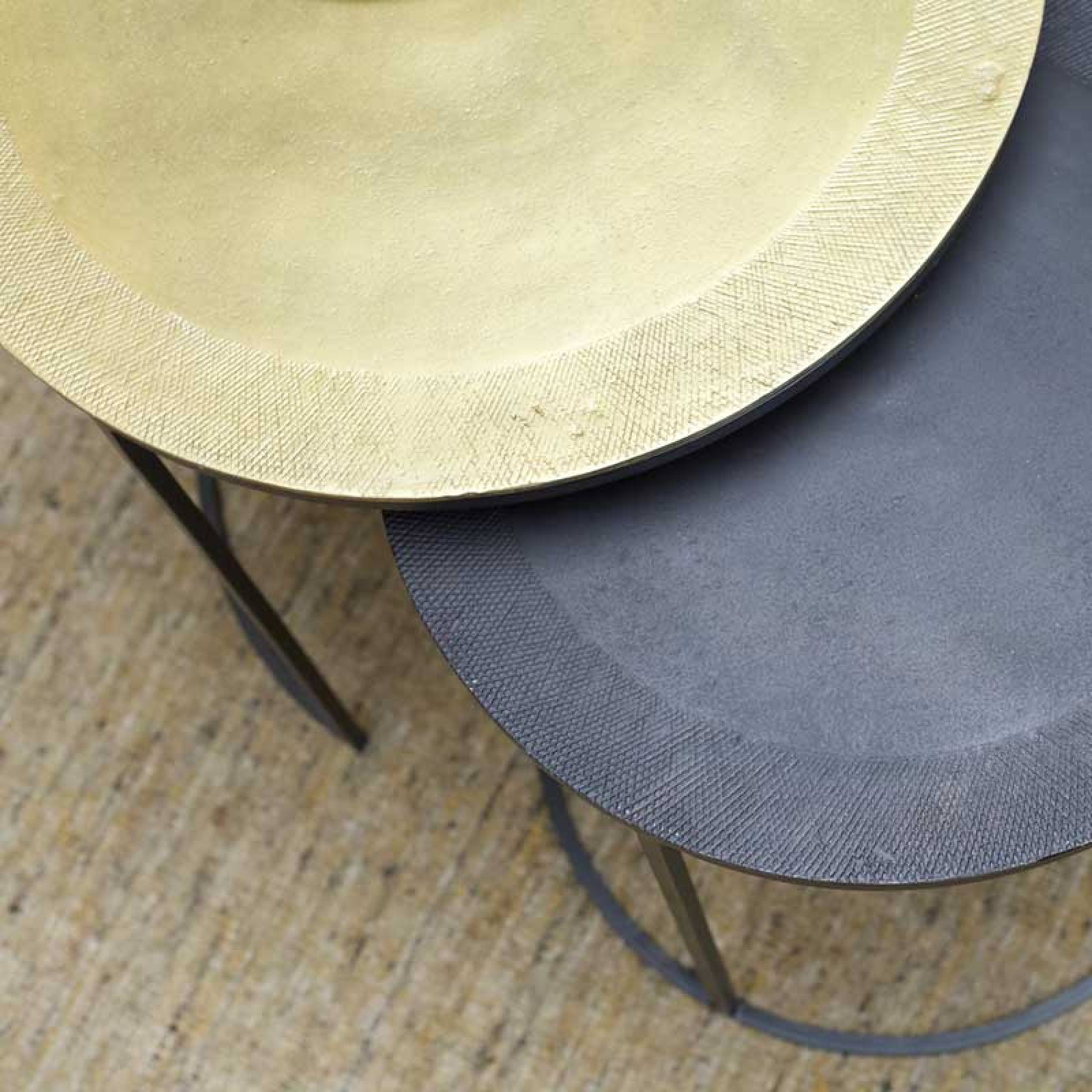 Calta Pair Of Circular Metal Side Tables