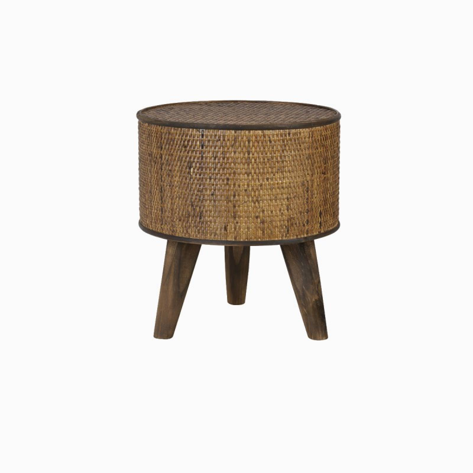 Canya Circular Woven Cane Side Table In Dark