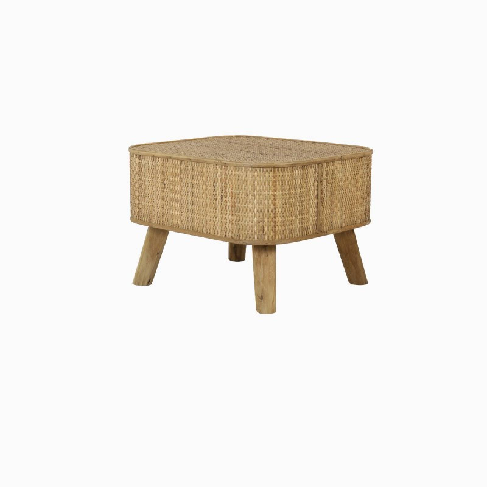 Canya Rectangular Woven Cane Side Table In Natural