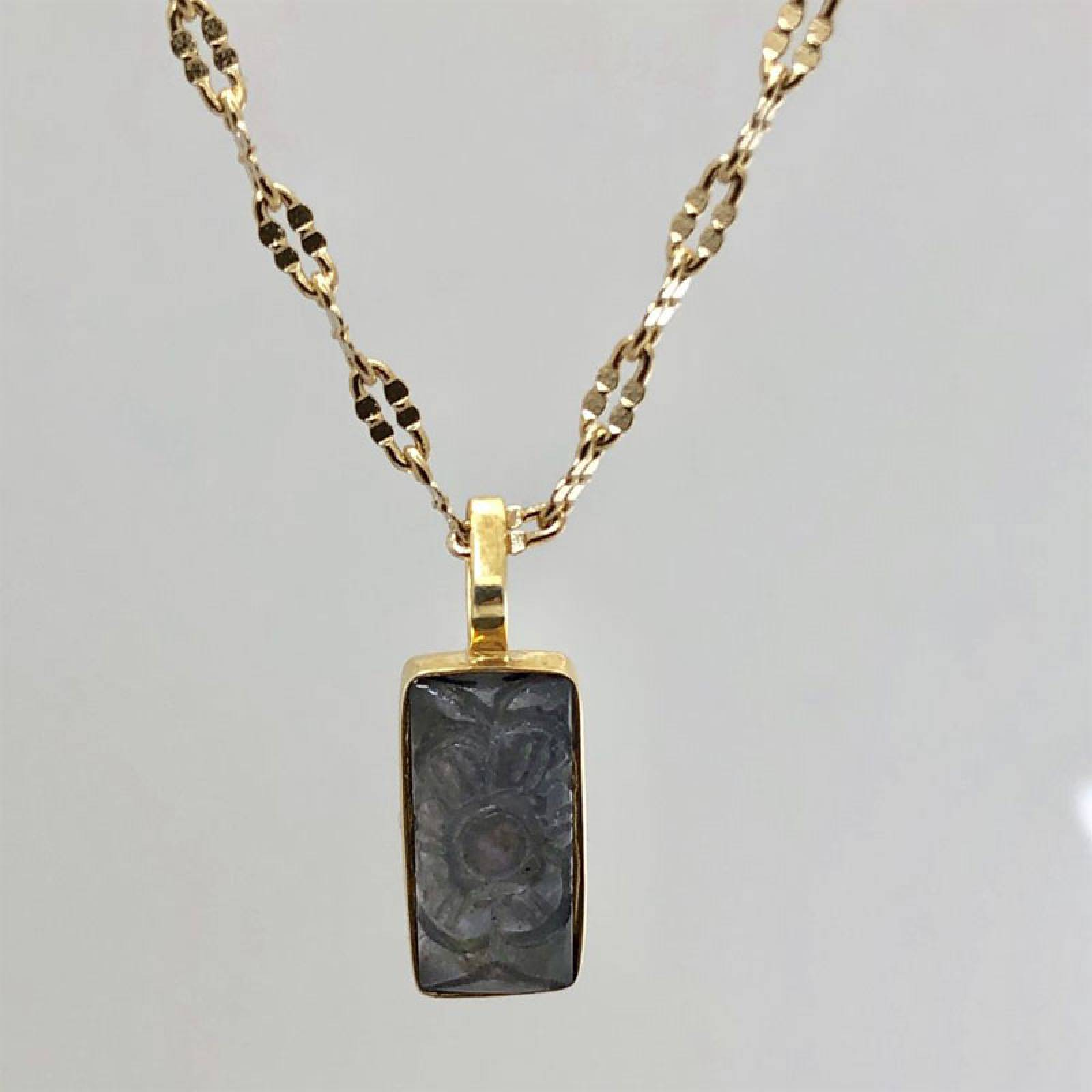 Carved Iolite Pendant With Gold Chain