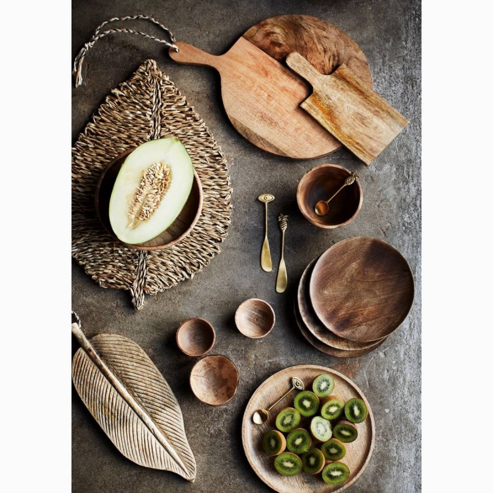 Carved Wooden Leaf Shaped Serving Platter thumbnails