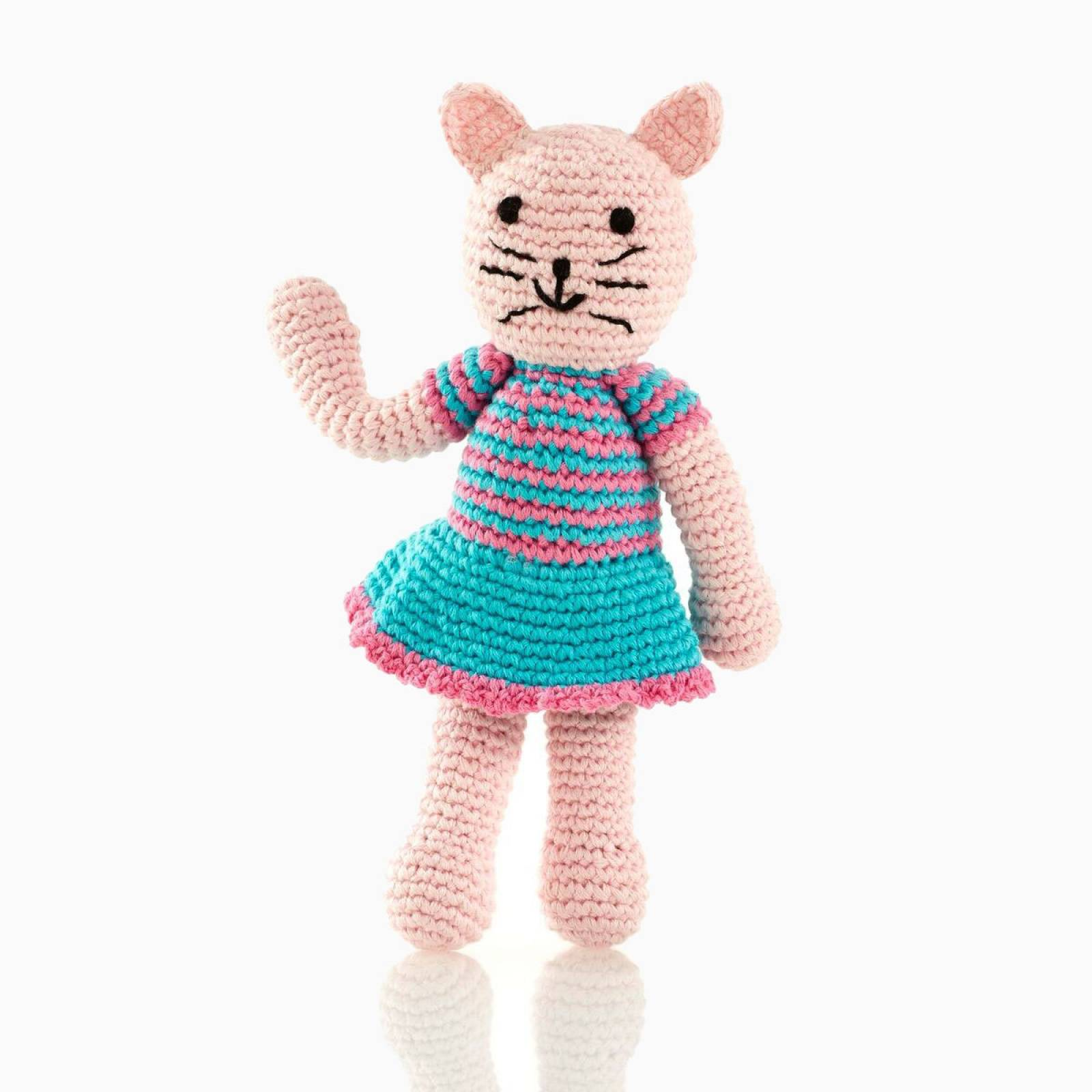 Knitted Crochet Cat Girl Baby Rattle by Pebble 0+