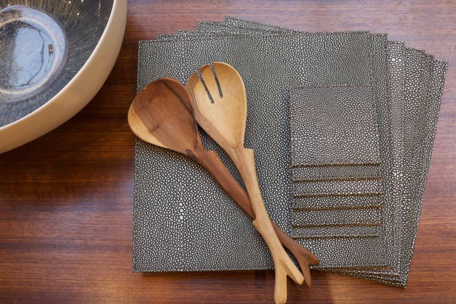 Set Of 6 Chagrin Square Placemats In Green thumbnails