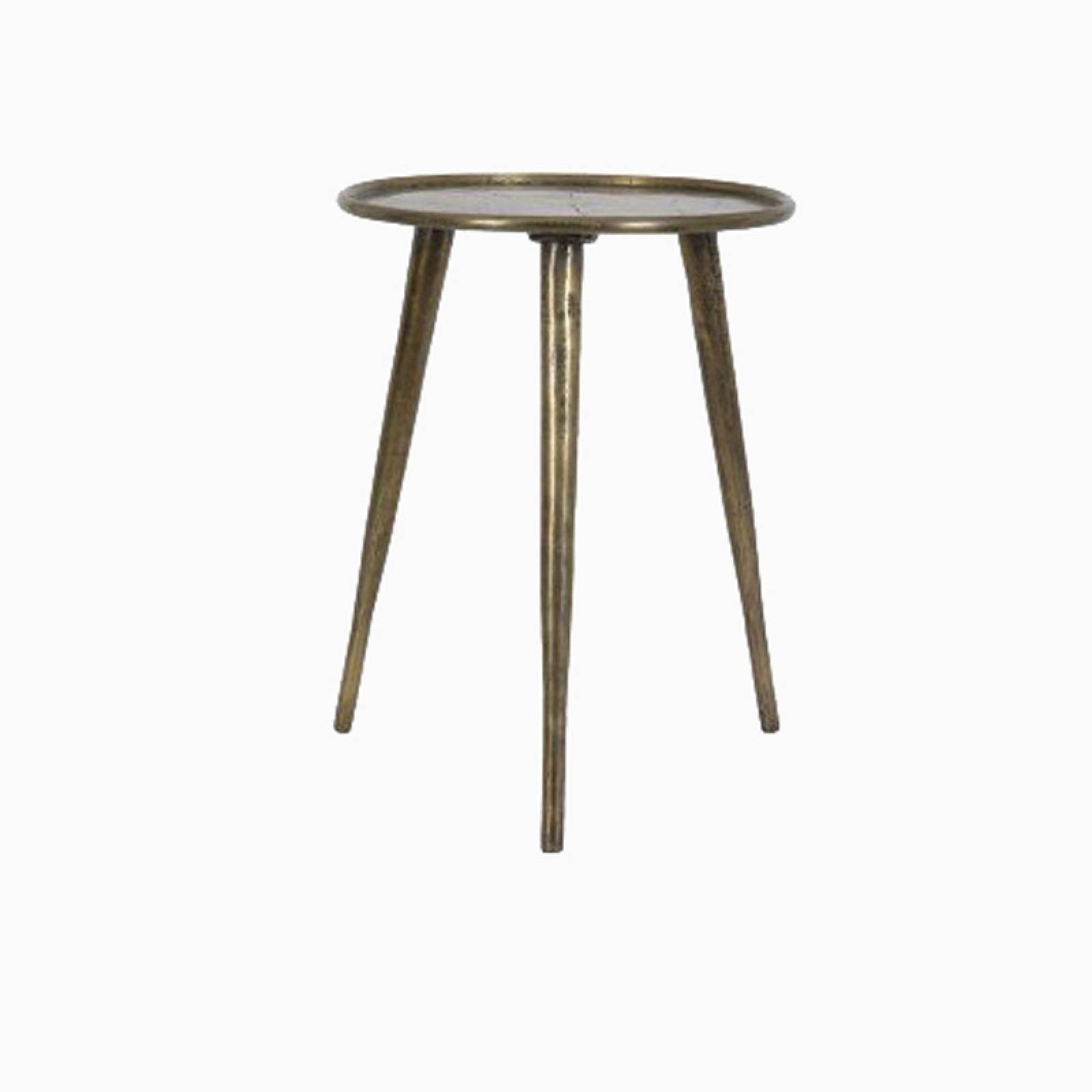 Chak Circular Side Table With Tripod Legs In Antique Bronze