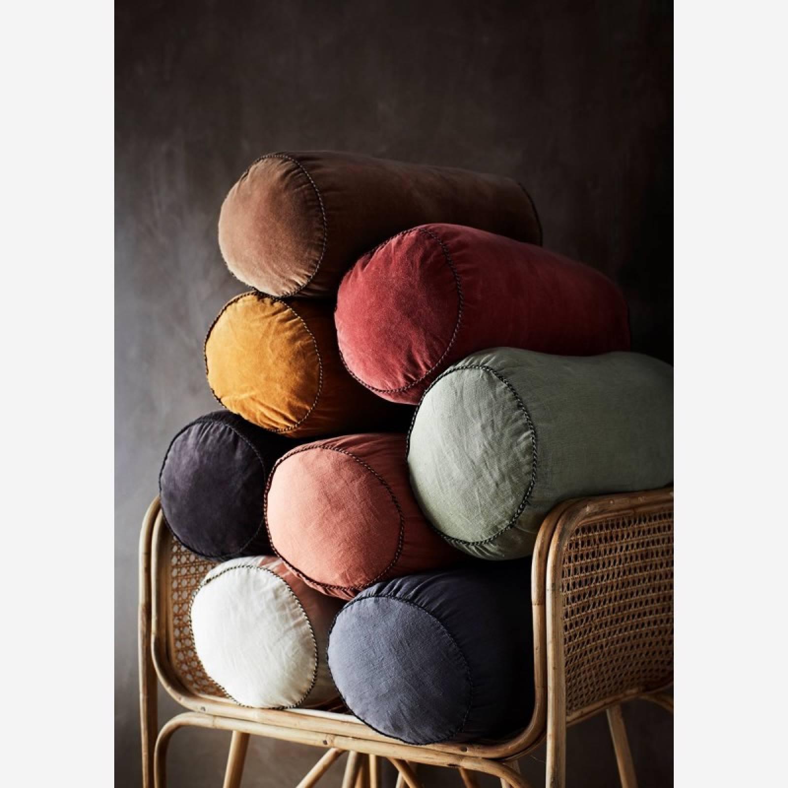 Charcoal Linen bolster cushion D:20x50 cm thumbnails