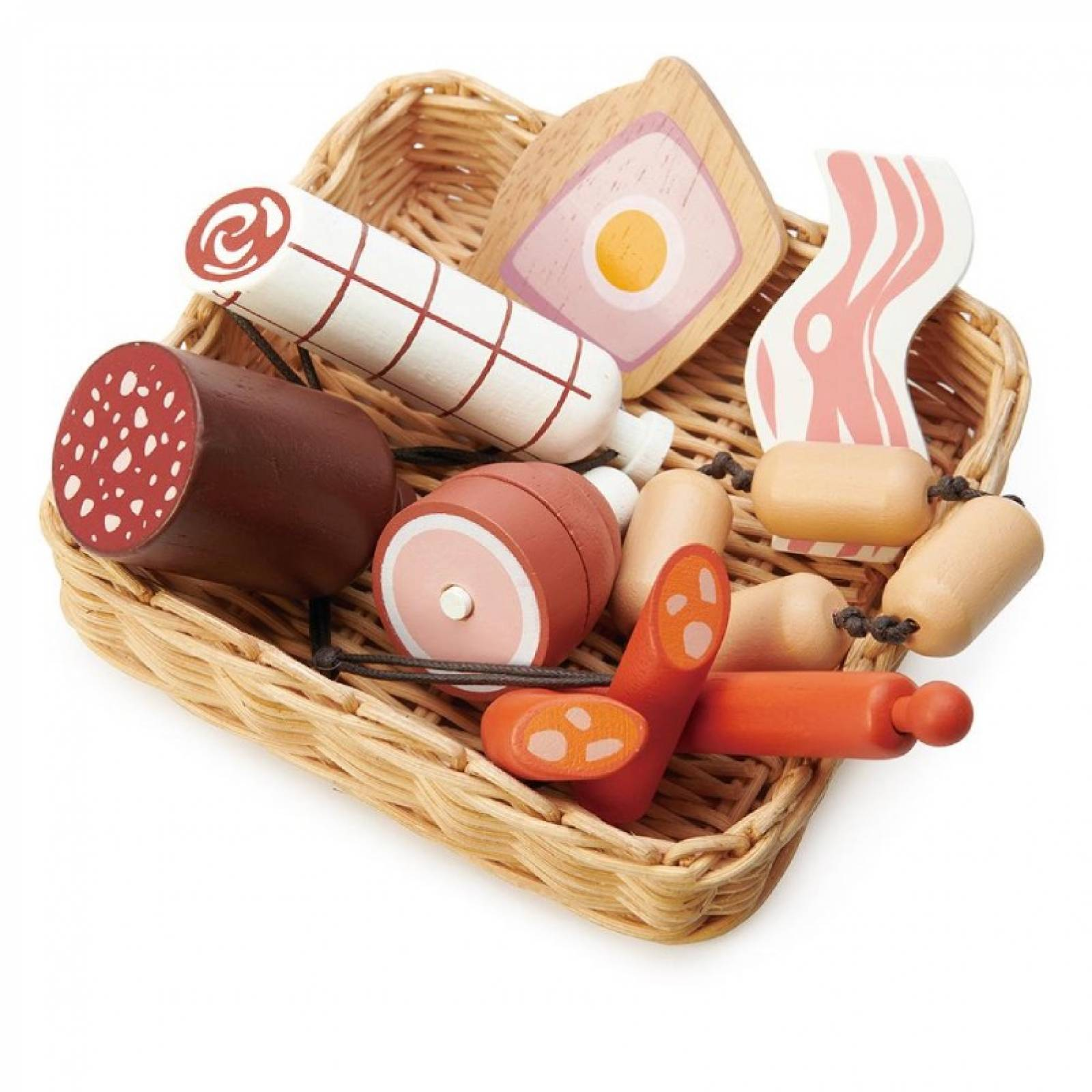 Charcuterie Basket Wooden Play Food Set 3+