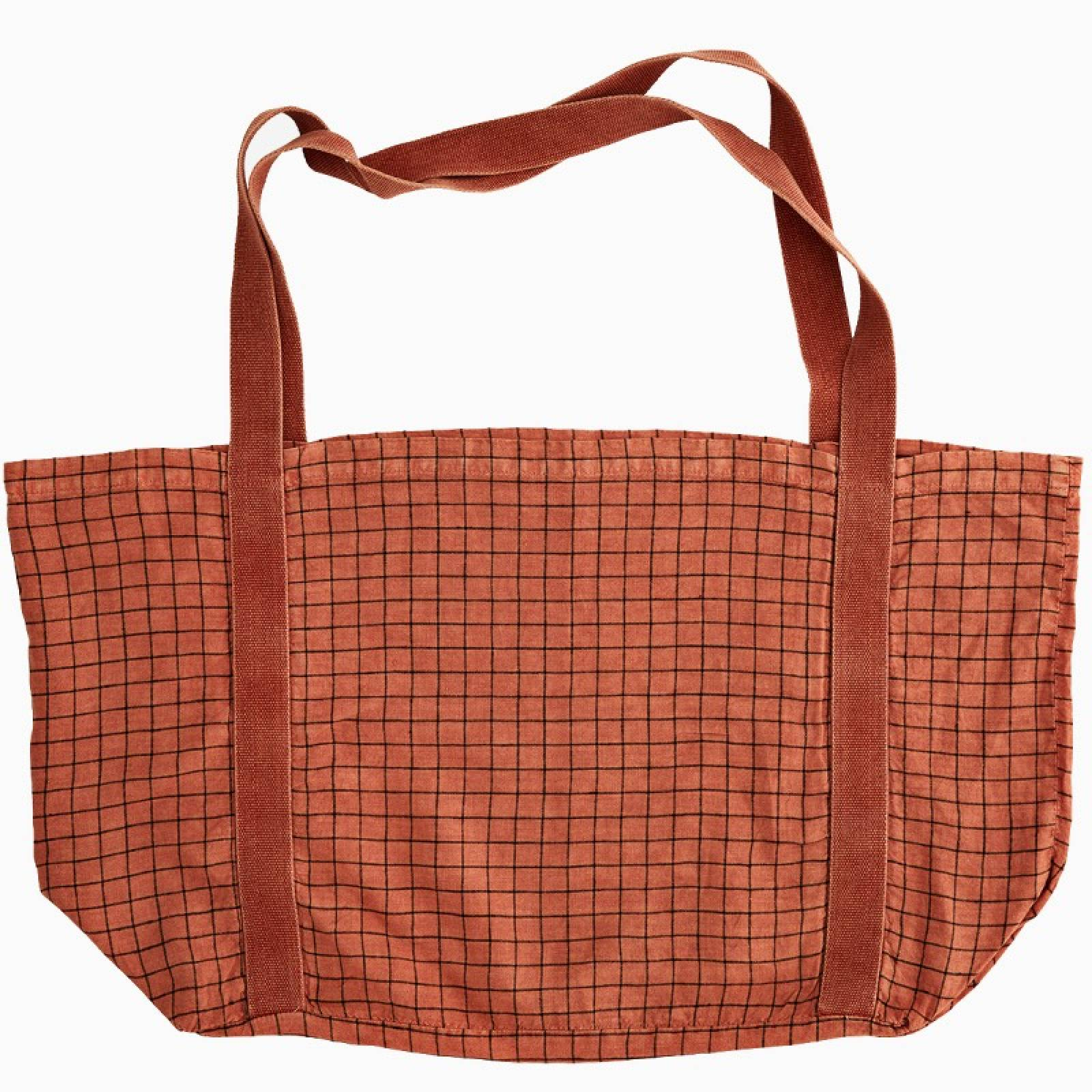 Large Checked Linen Tote Bag In Dark Coral thumbnails