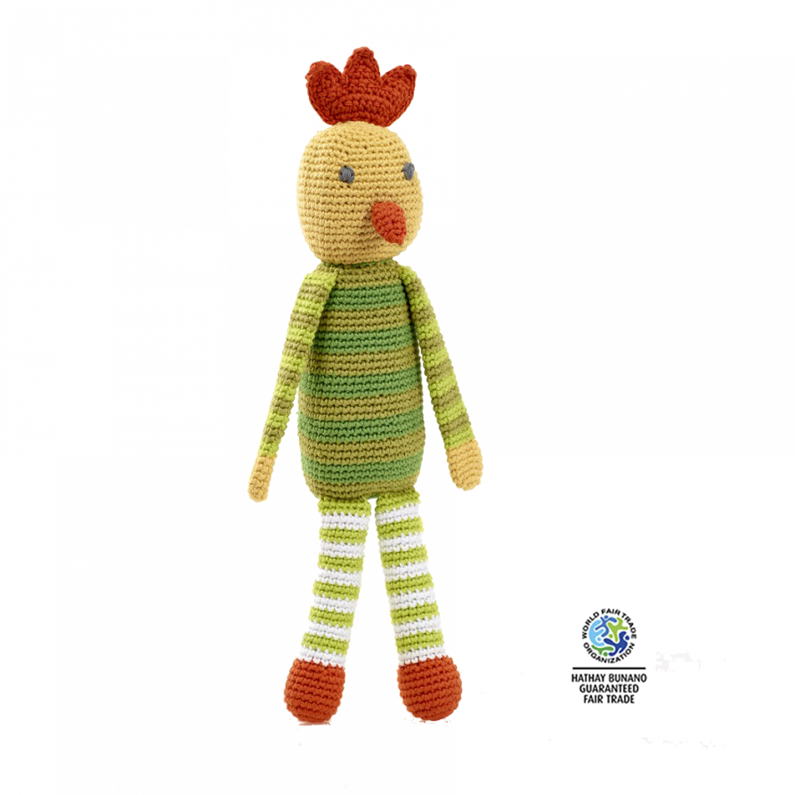 Crochet Knitted Chicken Rattle Soft Toy Fairtrade 0+