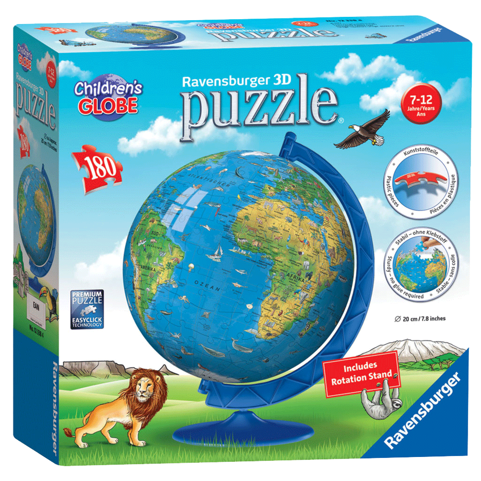Children's 3D Globe Puzzle 180 Pieces 7-12yrs
