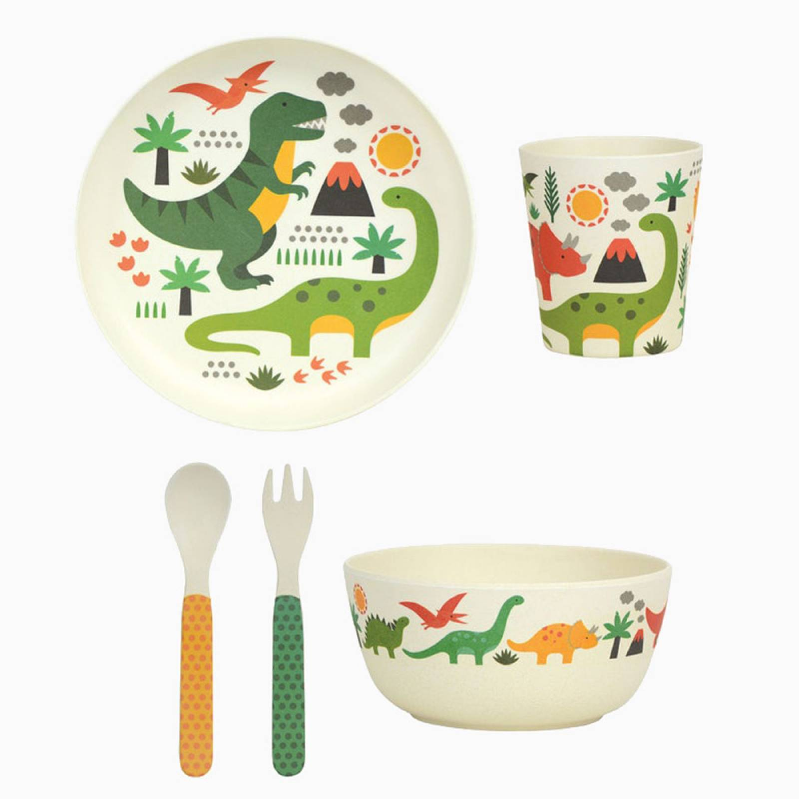 Children's Dinosaur Bamboo Dinnerware Set  By Petit Collage thumbnails