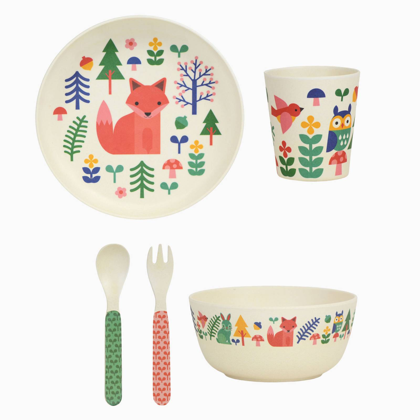 Children's Forest Friends Bamboo Dinnerware Set By Petit Collage thumbnails