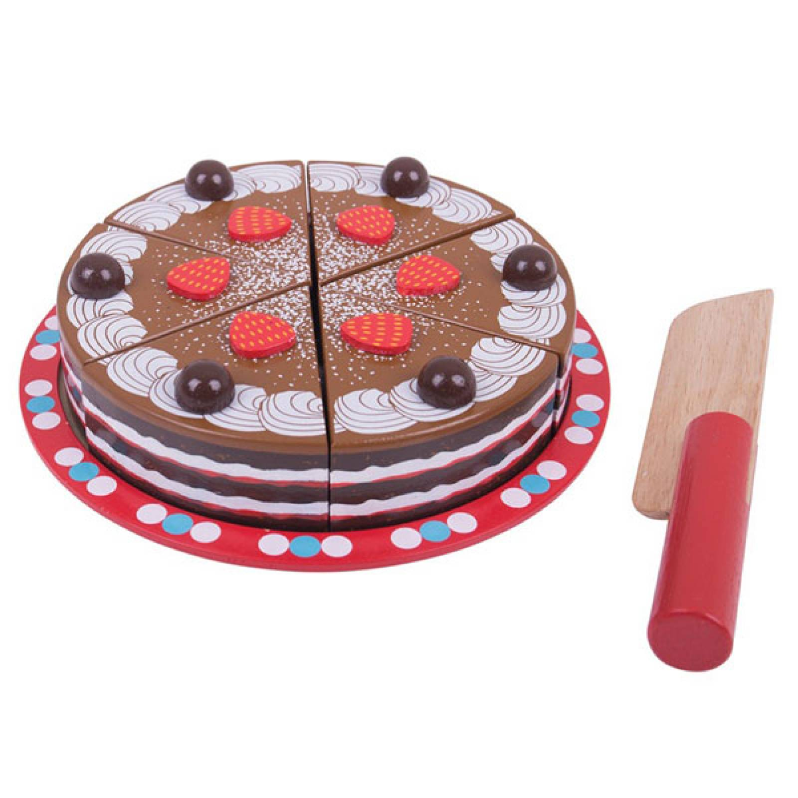 Chocolate Party Cake Wooden Play Food Set 3+