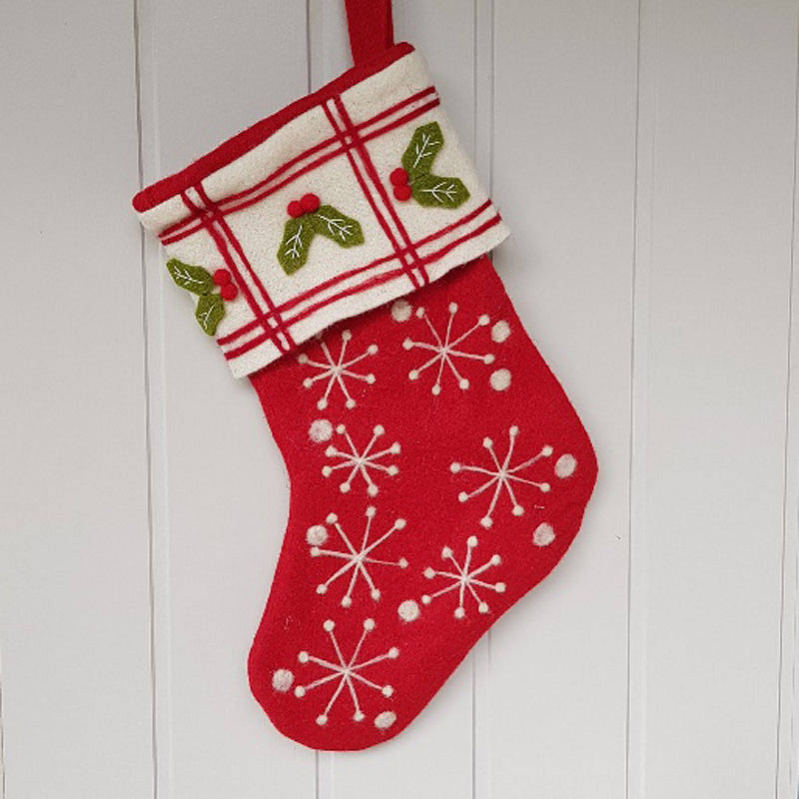 Christmas Stocking With Snowflakes And Holly