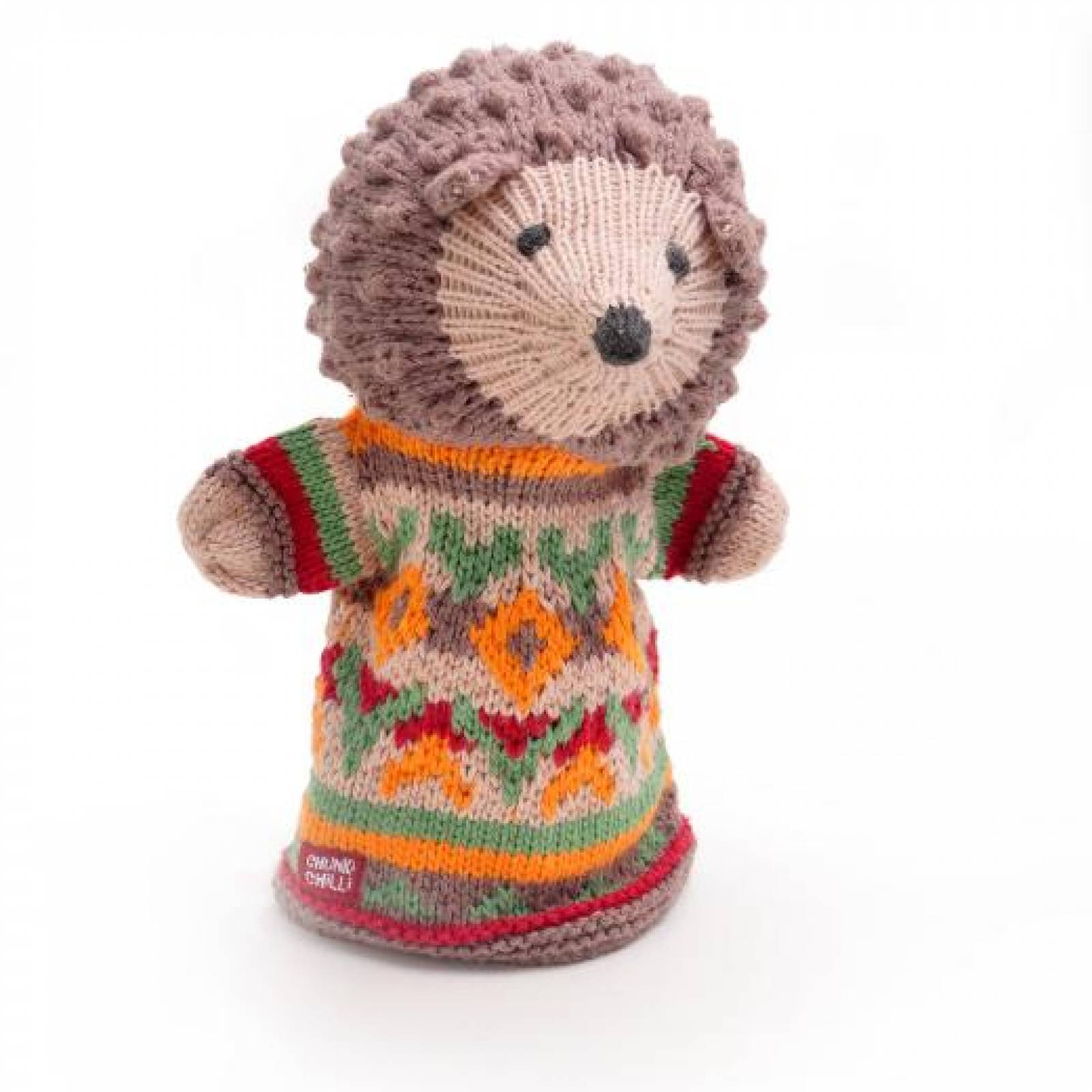 Hedgehog - Hand Knitted Glove Puppet Organic Cotton