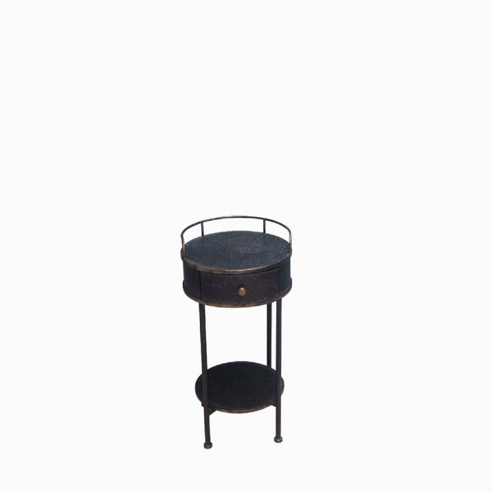 Circular Blue Metal Double-Tiered Side Table With Drawer