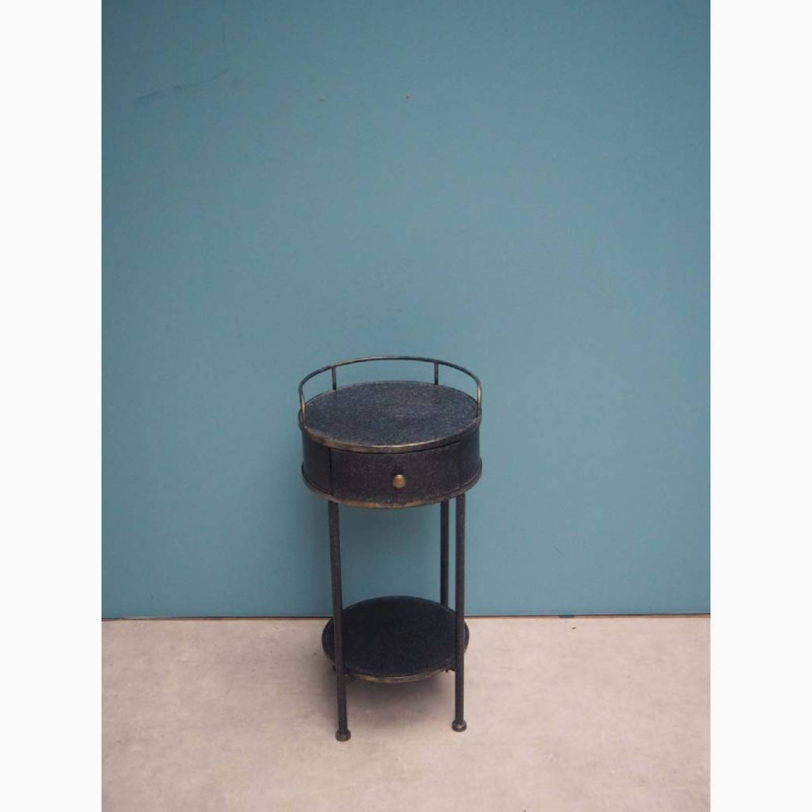 Circular Blue Metal Double-Tiered Side Table With Drawer thumbnails