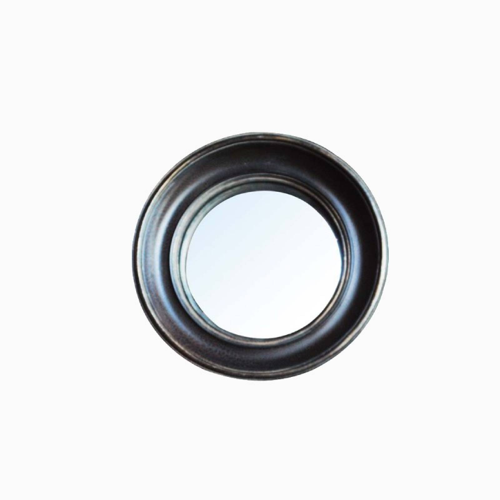 Circular Convex Mirror With Black & Gold Patinated Frame D:26.cm