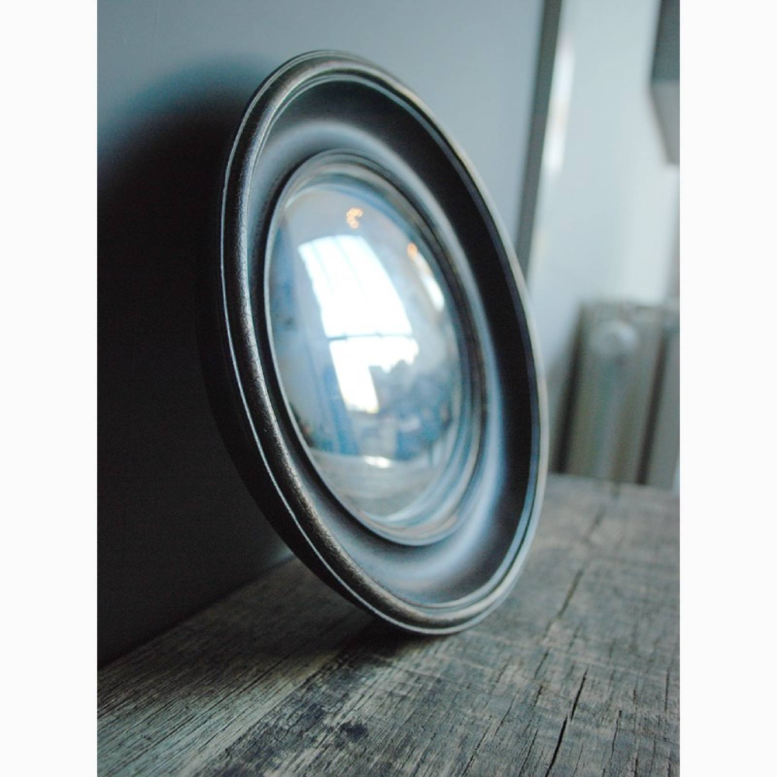 Circular Convex Mirror With Black & Gold Patinated Frame D:26.cm thumbnails