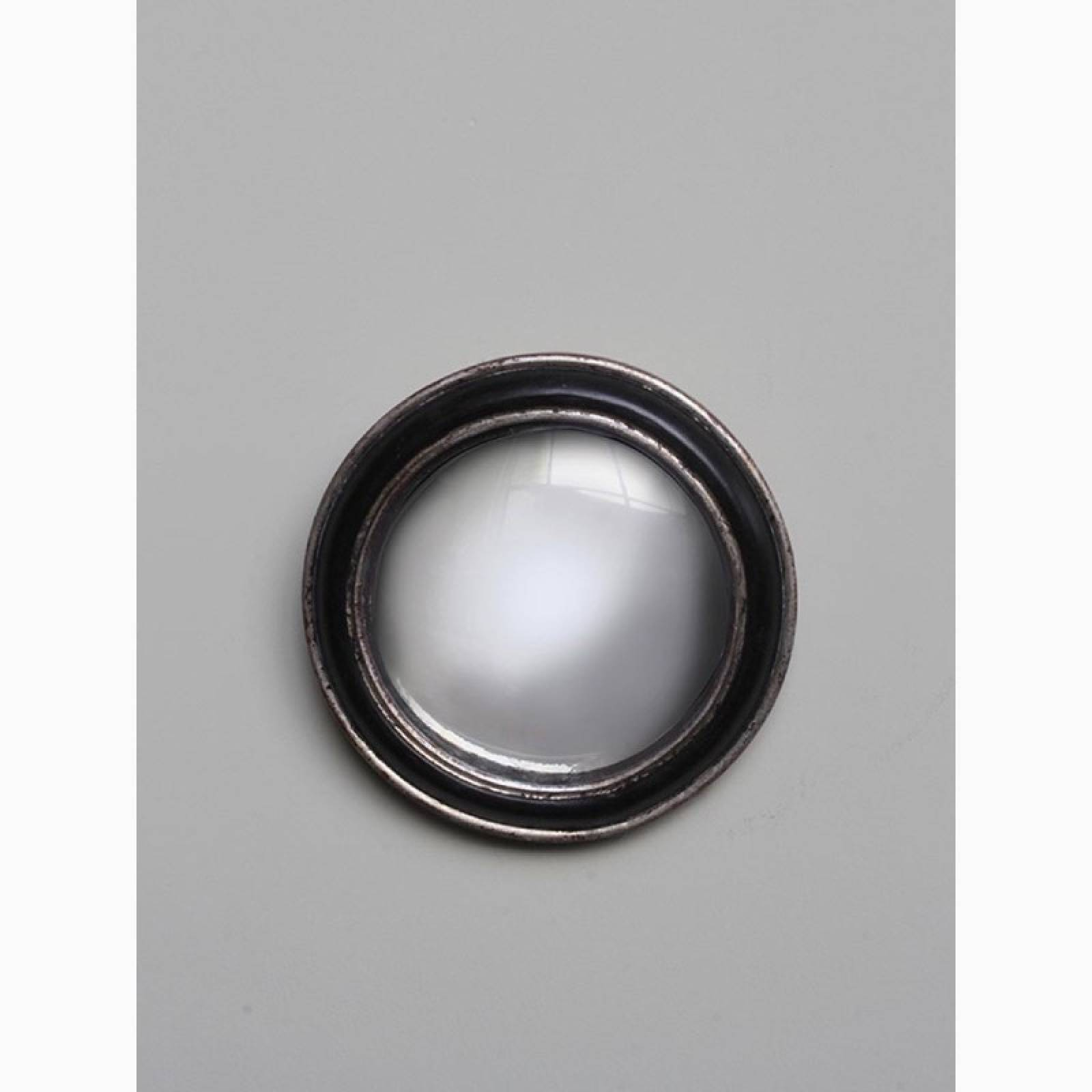 Circular Convex Mirror With Black Silver Patinated Frame D:19cm thumbnails