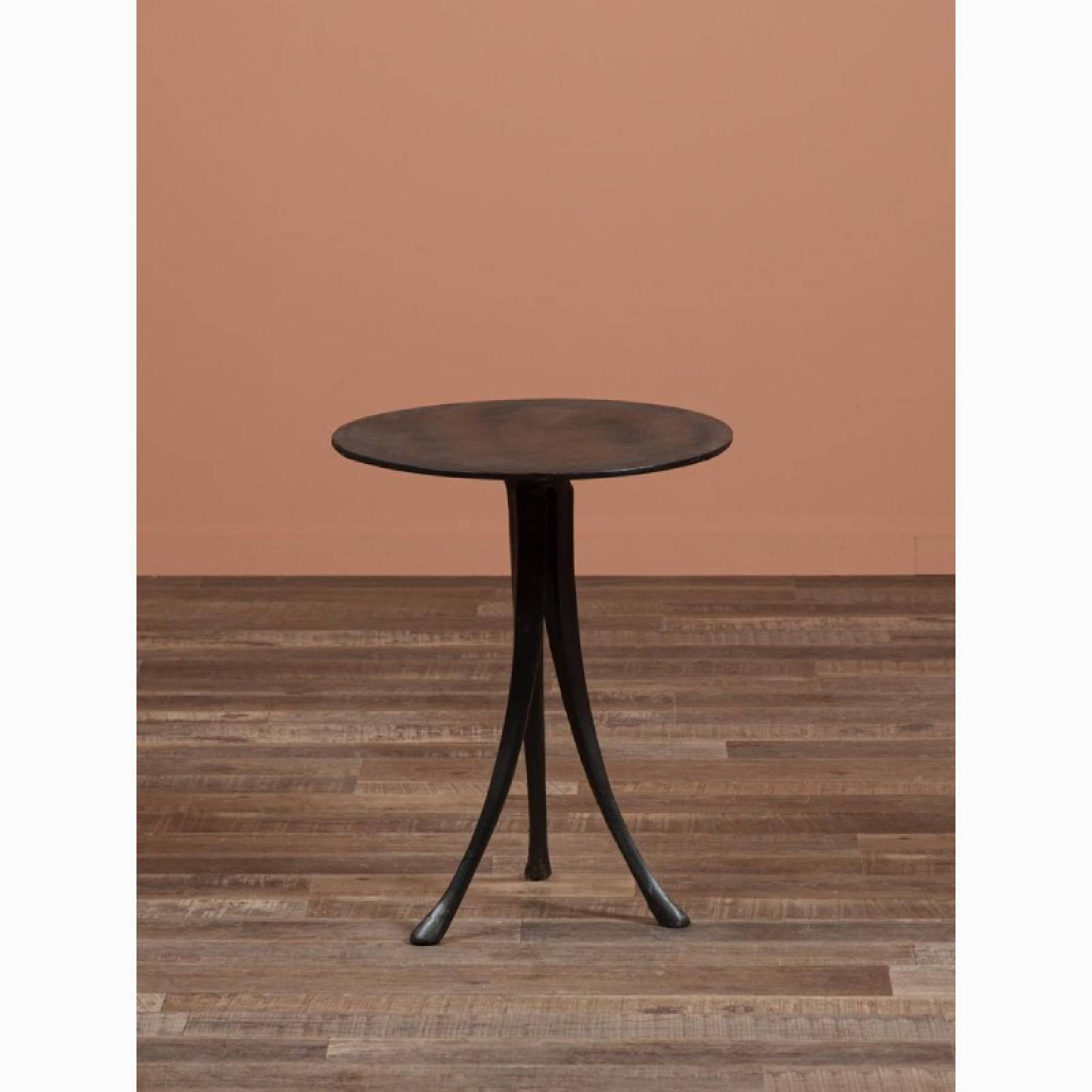 Circular Metal Side Table With Flared Tripod Legs thumbnails