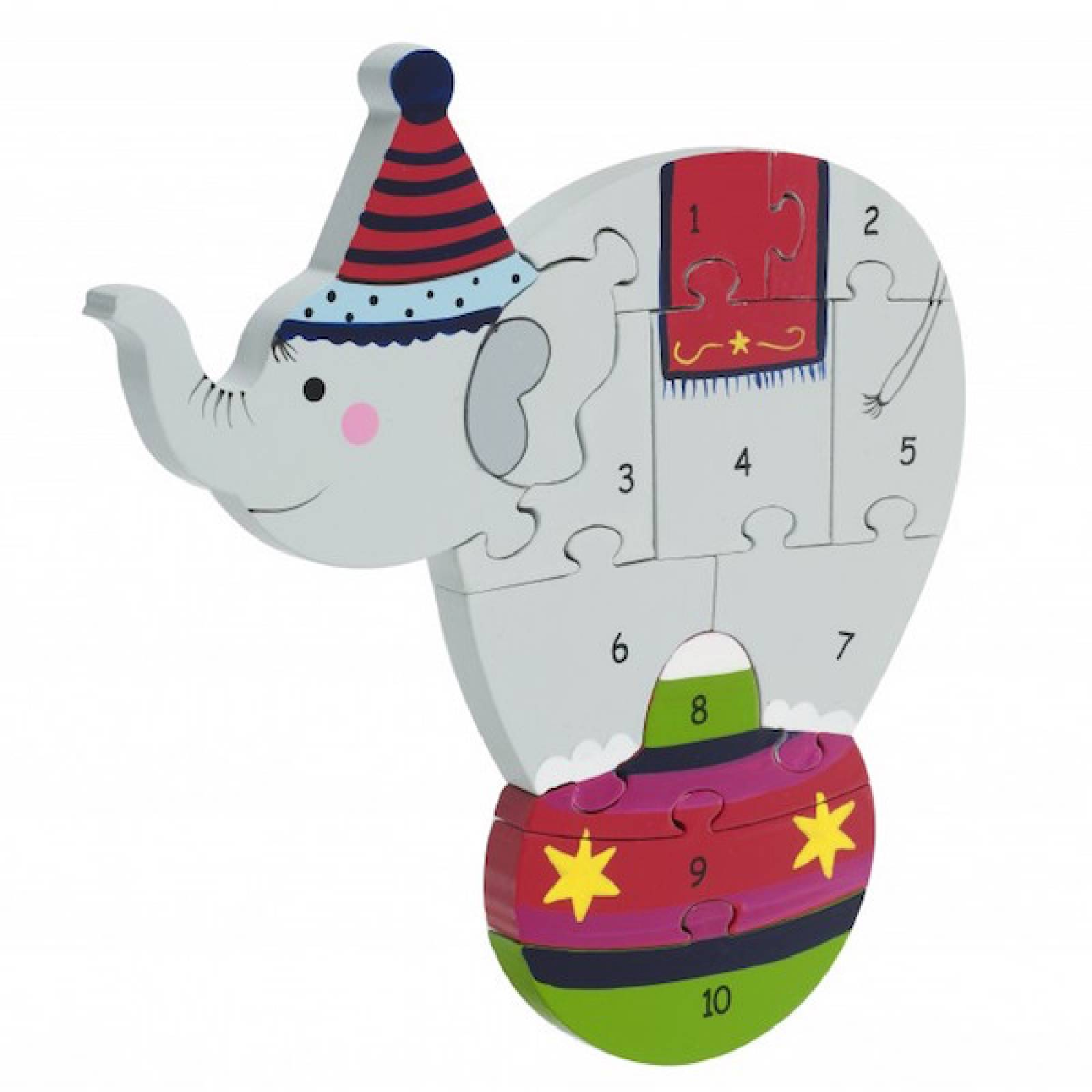 Circus Elephant Wooden Number Puzzle 1+
