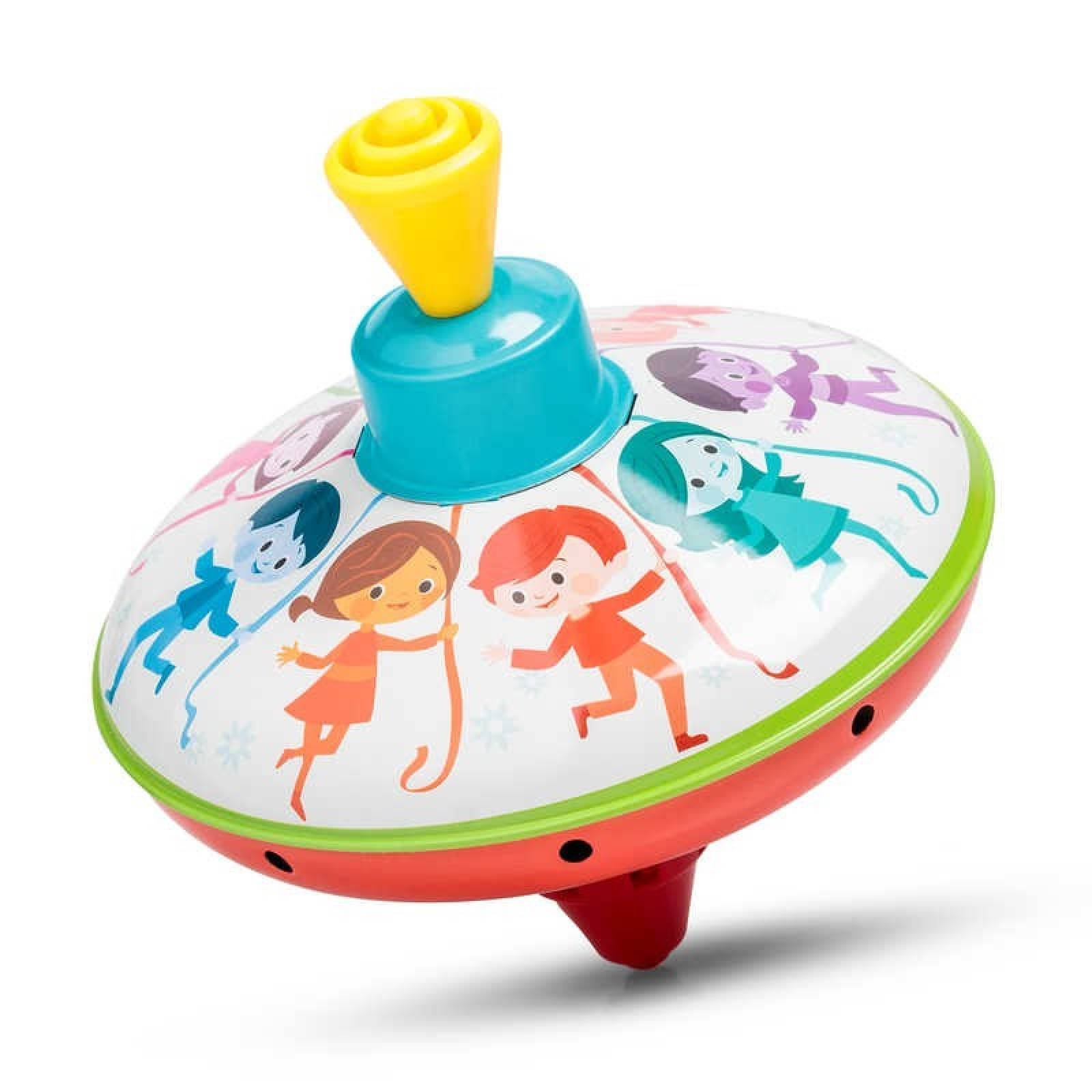 Classic Small Tin Spinning Top With Dancing Children 3+