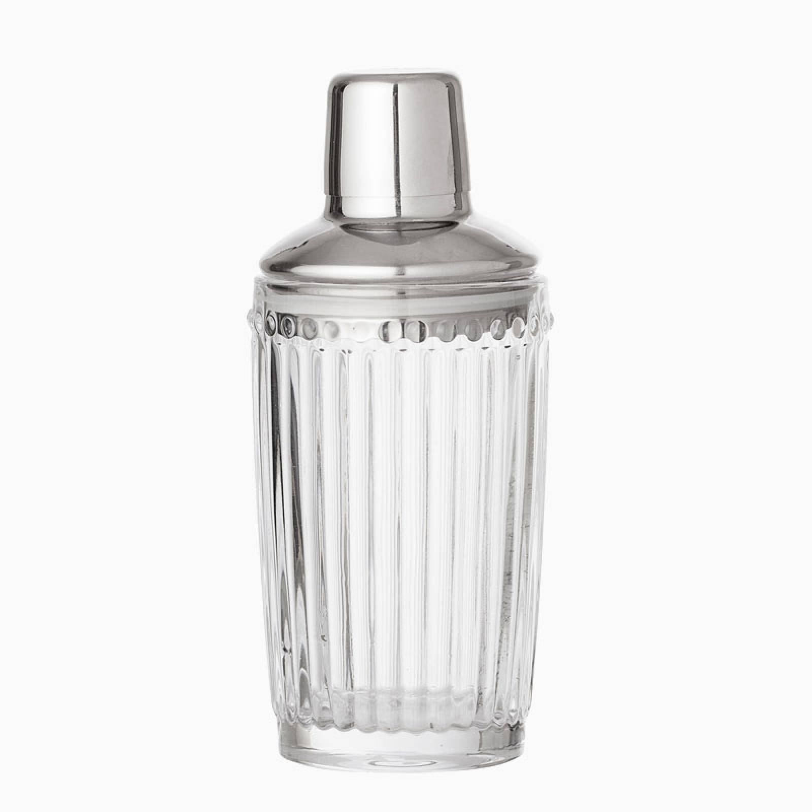 Clear Ribbed Glass Deco Style Cocktail Shaker With Chrome Top