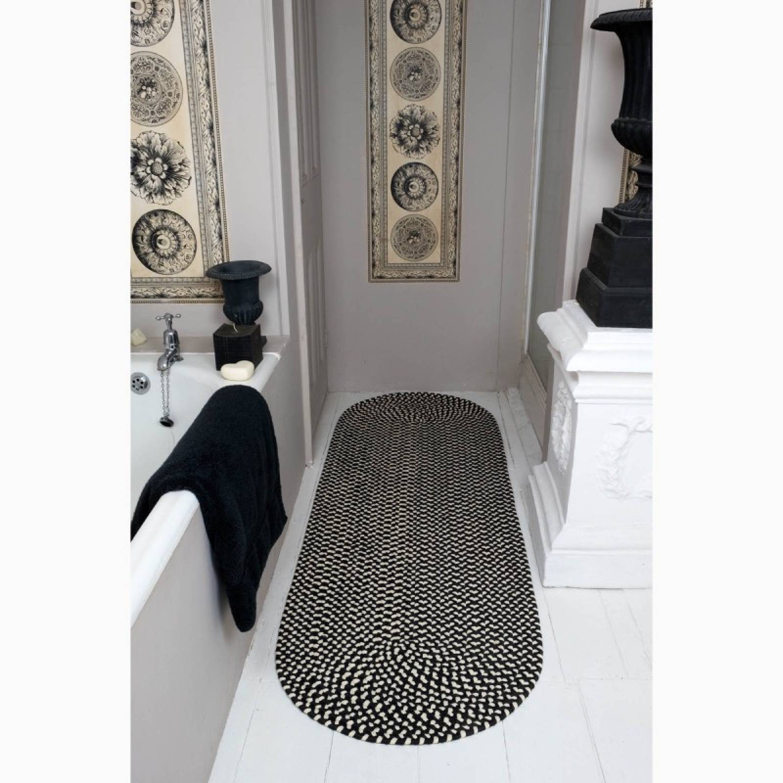 Coal & Cream Oval Runner Braided Rug Recycled Plastic 61X183cm thumbnails