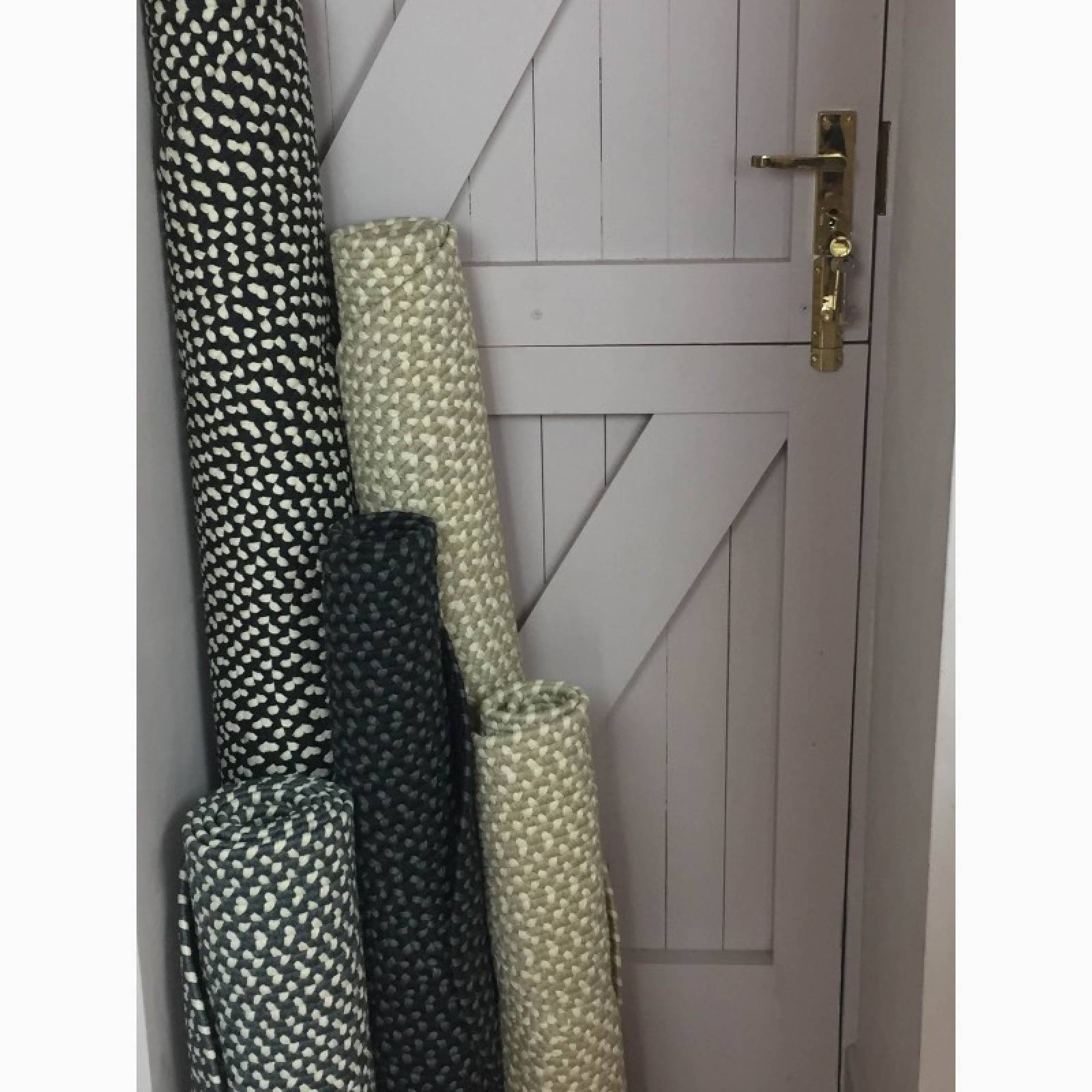 Coal & Cream Oval Braided Rug Recycled Plastic 69X122cm thumbnails