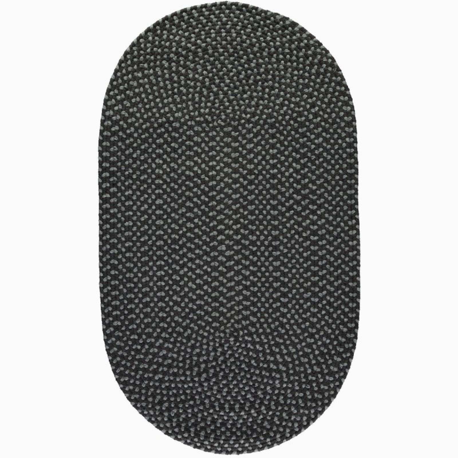 Coal & Pewter Oval Braided Rug Recycled Plastic 122x183cm
