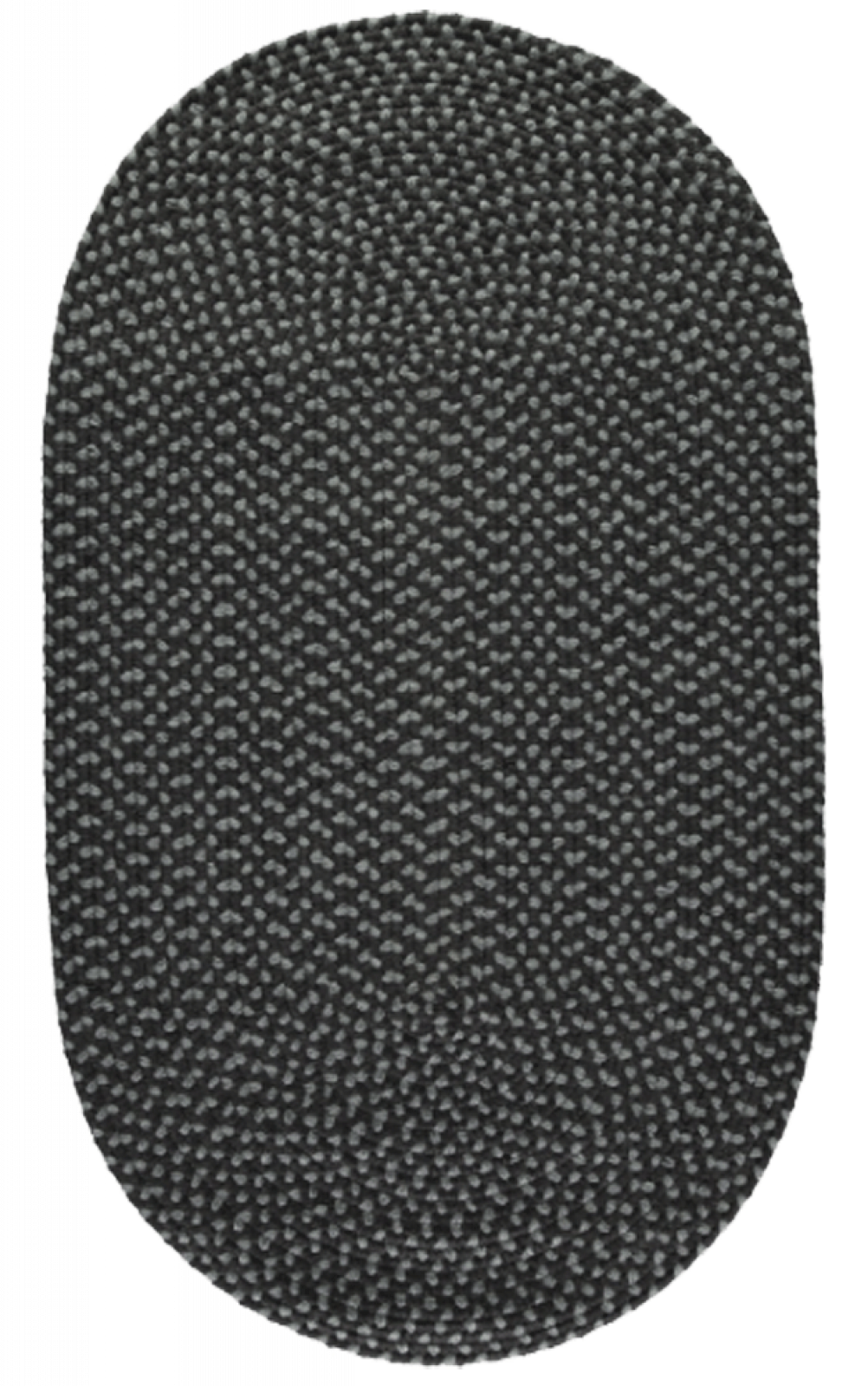 Coal Pewter Oval Braided Rug Recycled Plastic 69X122cm