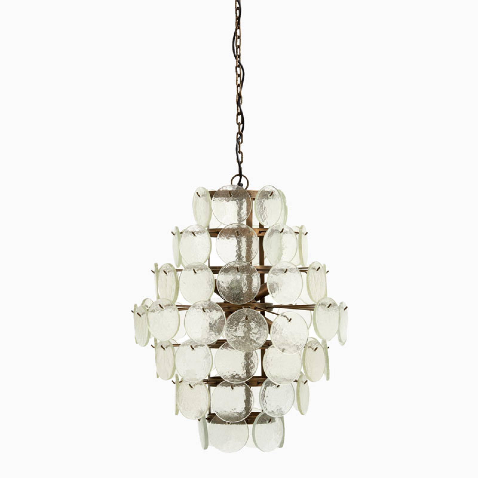 Glass Coin Pendant Lamp Chandelier