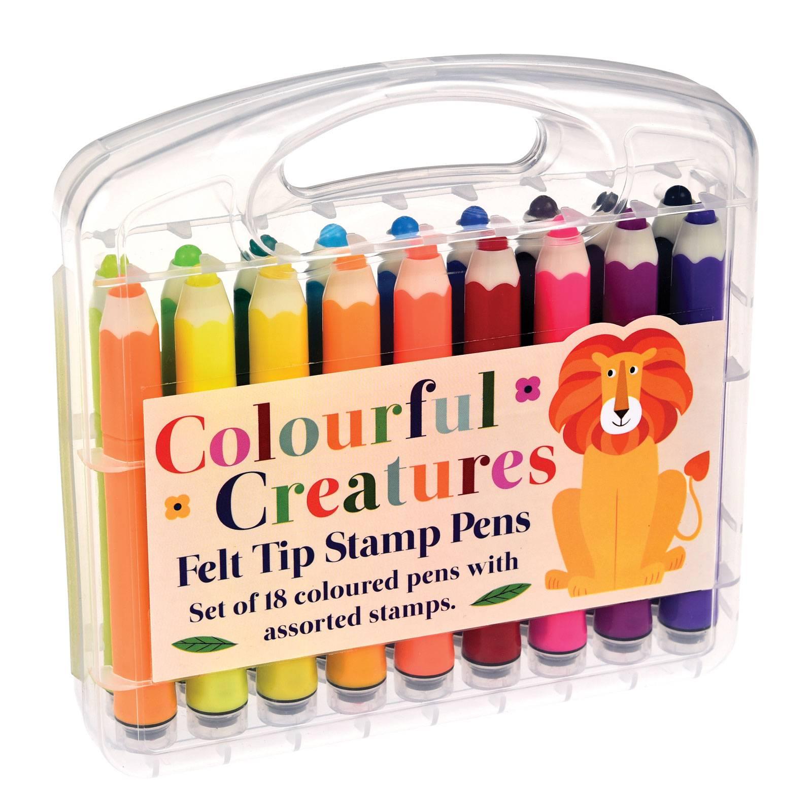 Colourful Creatures Felt Tip Stamp Pens