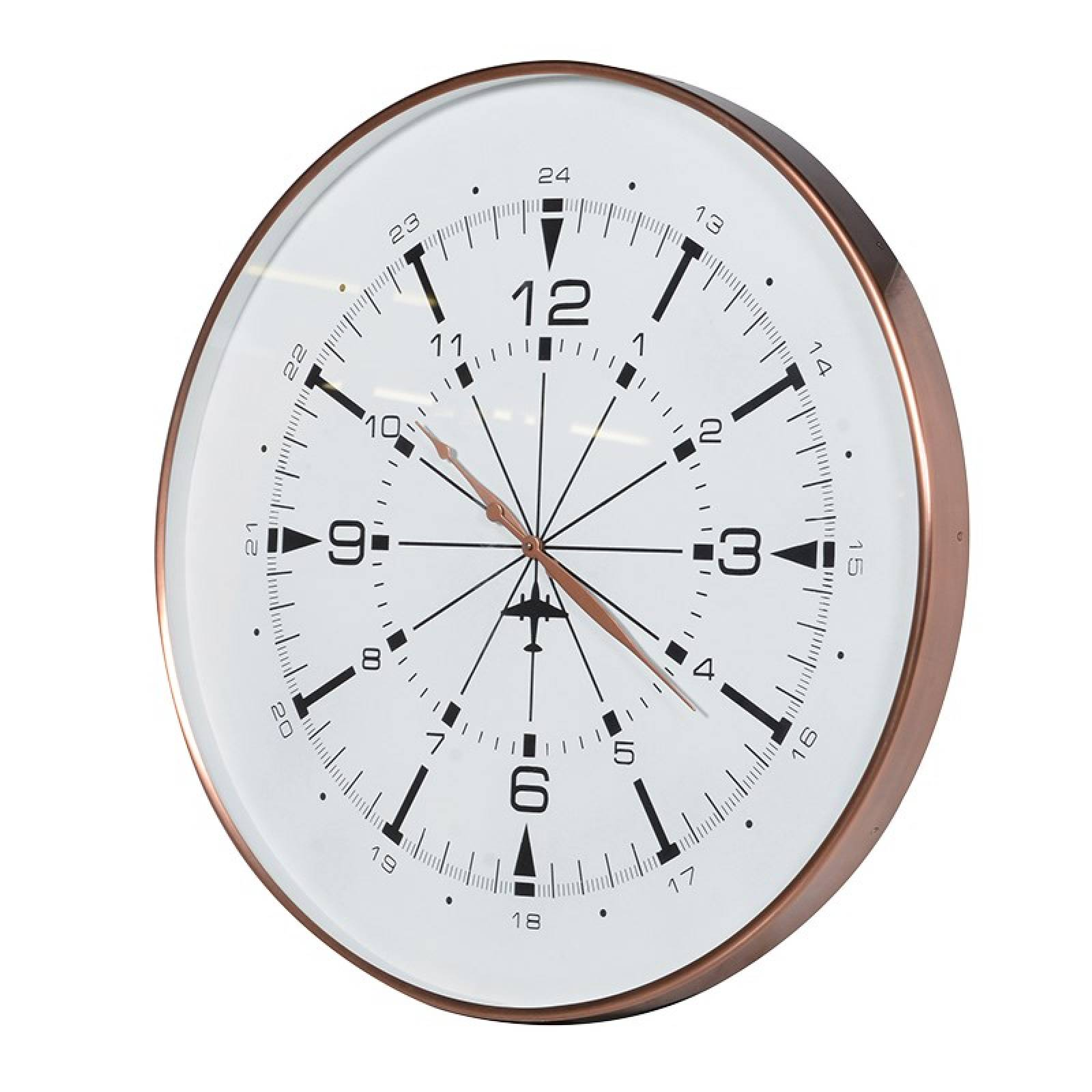 Copper Finish Airport Wall Clock Large 76cm