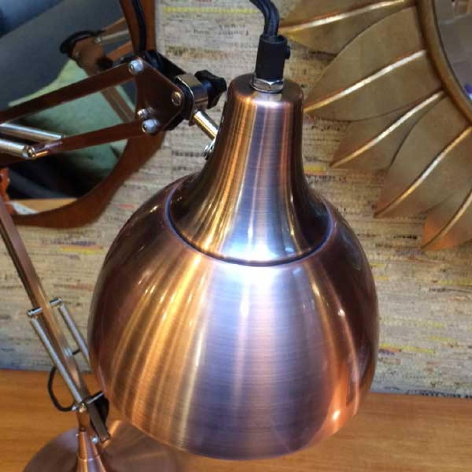 Vintage Style Copper Traditional Large Desk Lamp (Black Flex) thumbnails